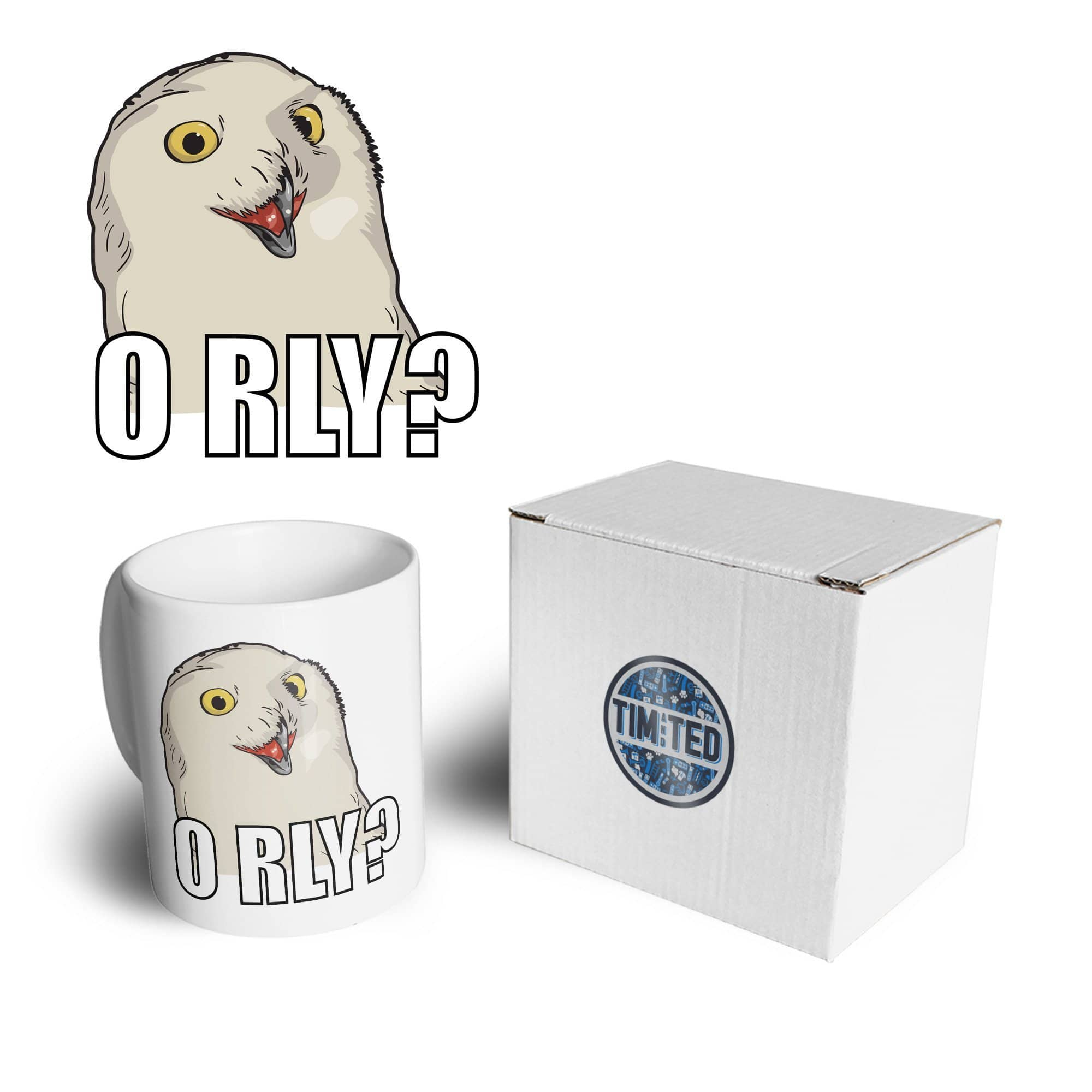 Joke Internet Meme Mug ORLY Snowy Owl Slogan Coffee Tea Cup