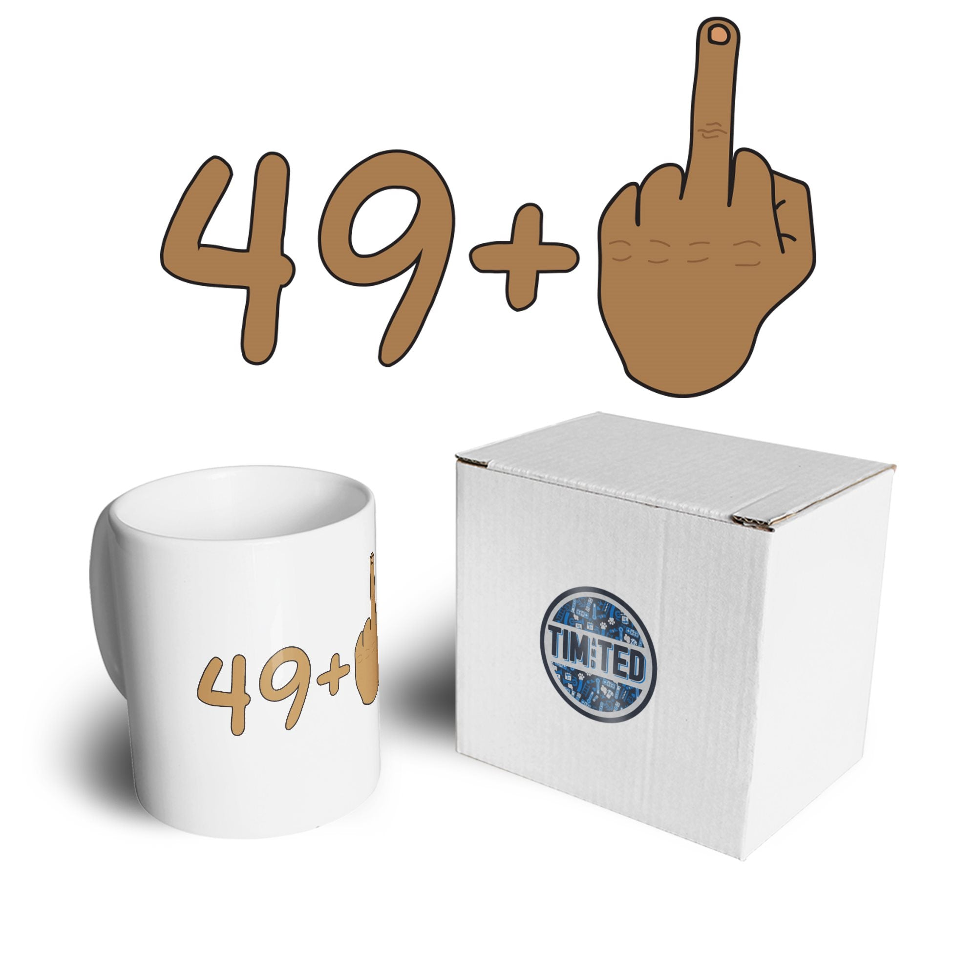 Rude 50th Birthday Mug Tanned Middle Finger Coffee Tea Cup