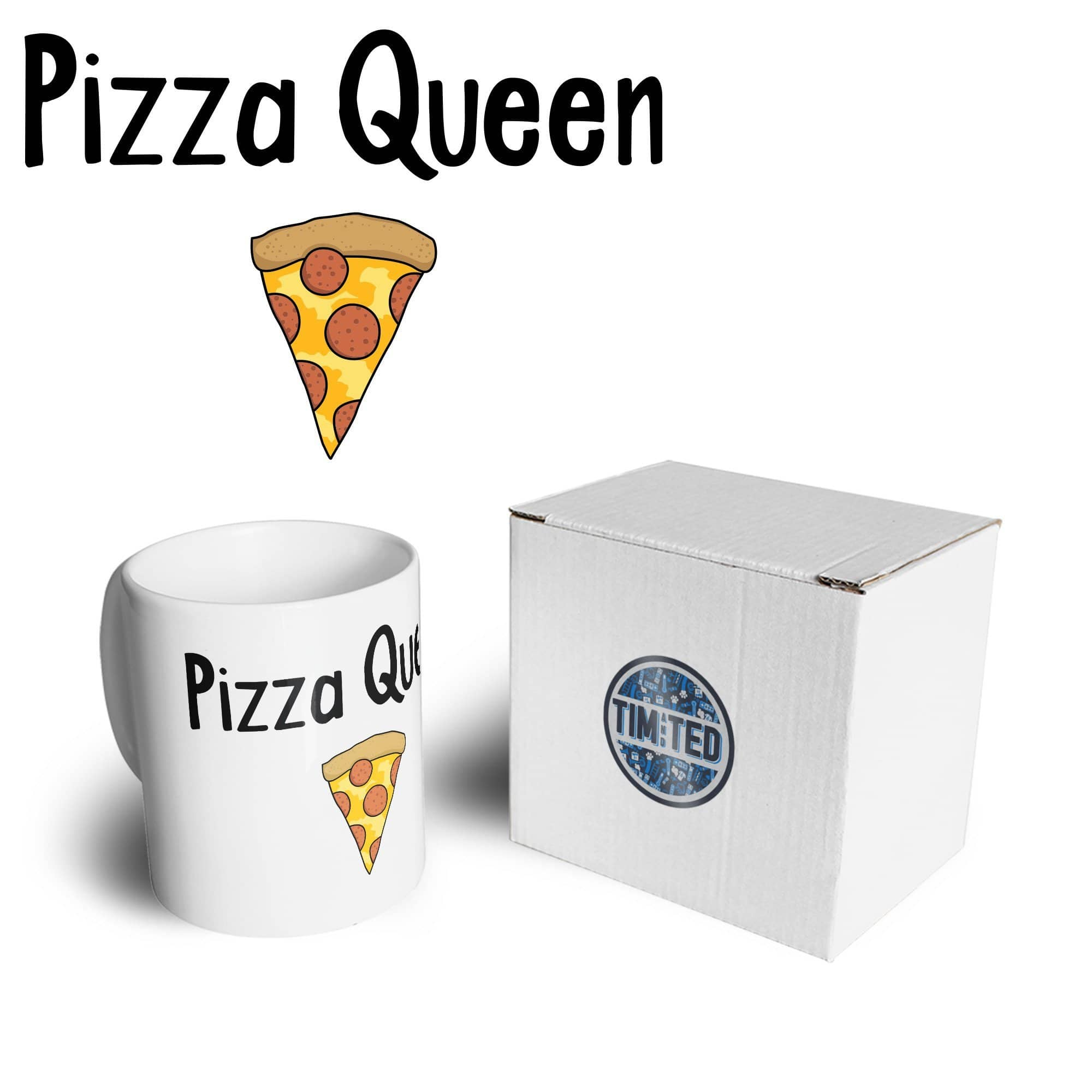 Novelty Food Mug Pizza Queen Slogan With Slice Coffee Tea Cup