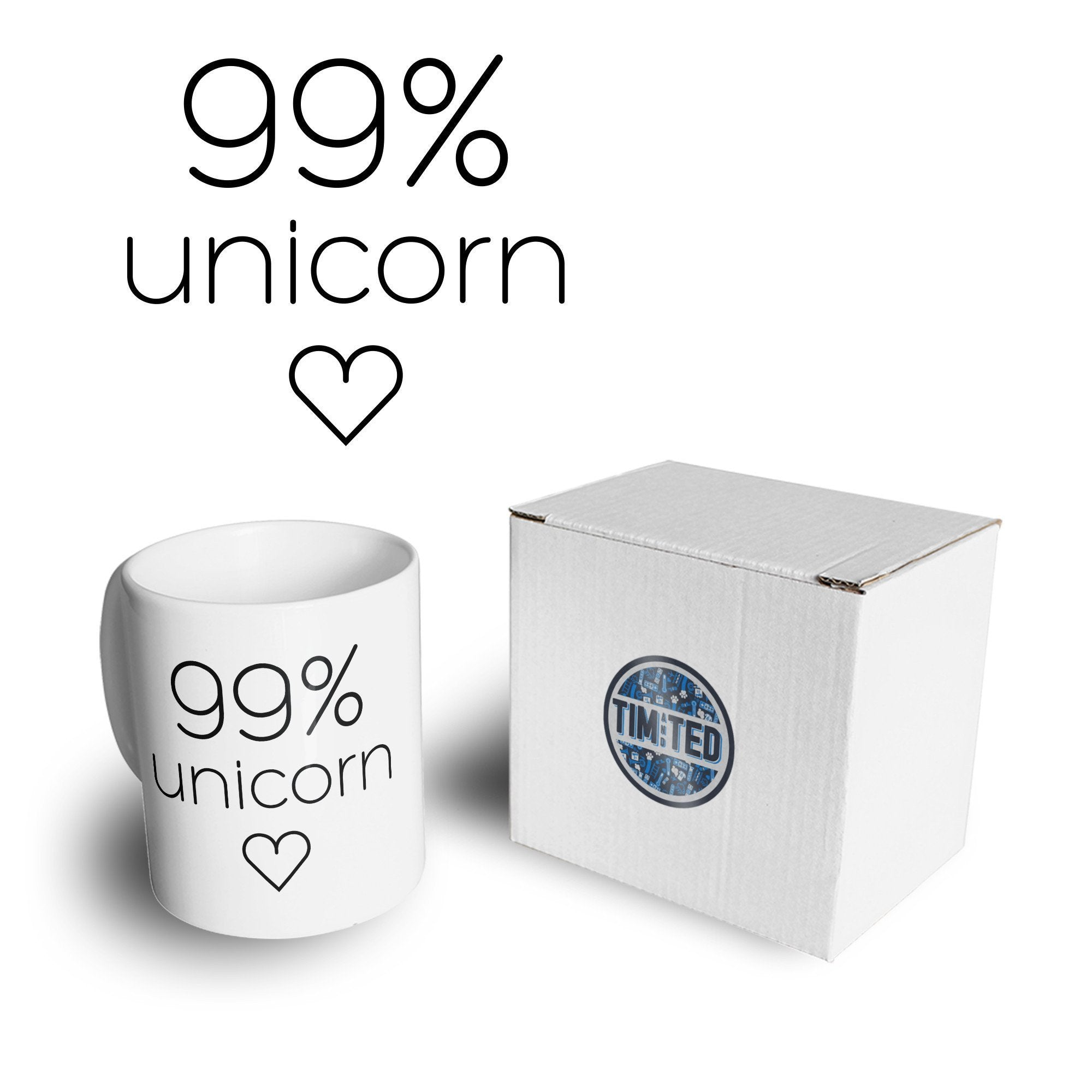 Novelty Mythical Mug 99% Unicorn Heart Slogan Coffee Tea Cup