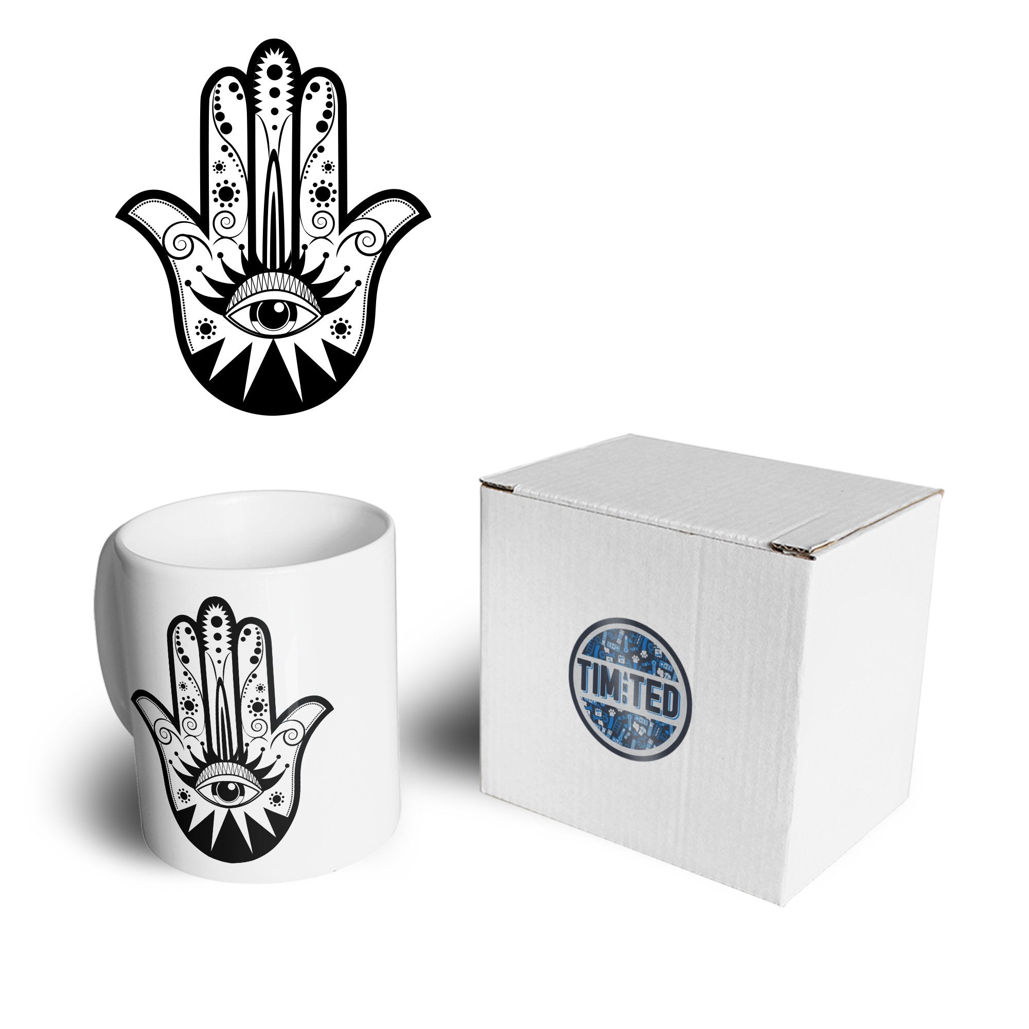 Traditional Art Mug Hamsa Hand Graphic Coffee Tea Cup