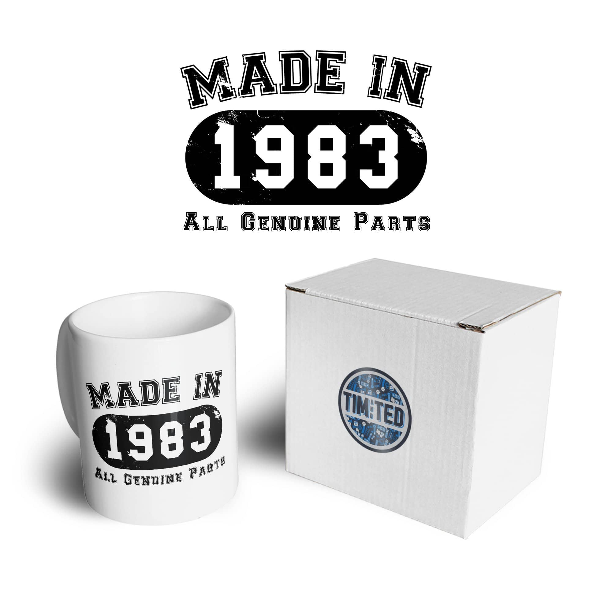 Birthday Mug Made in 1983 All Genuine Parts Coffee Tea Cup