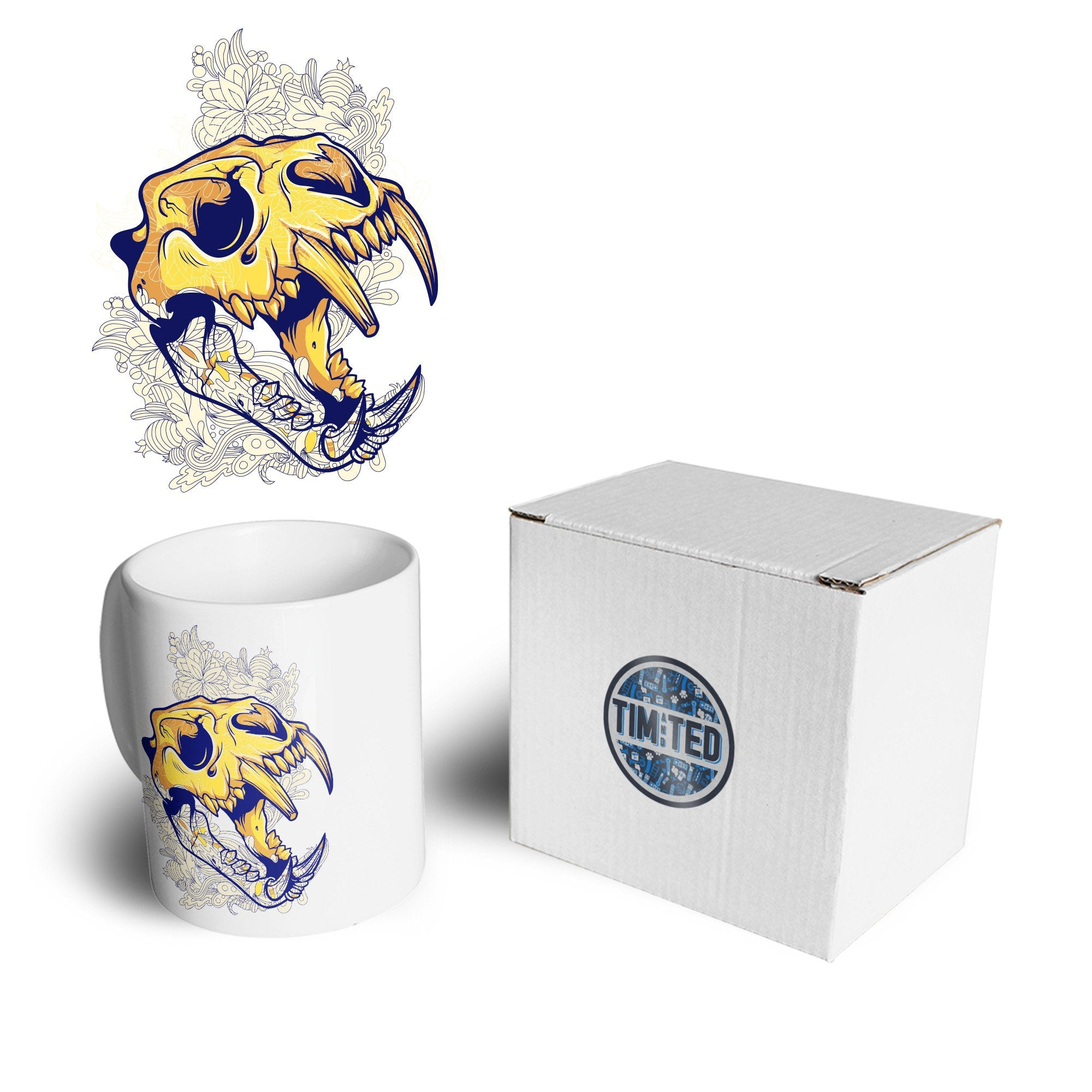 Ice Age Art Mug Sabertooth Tiger Skull Graphic Coffee Tea Cup