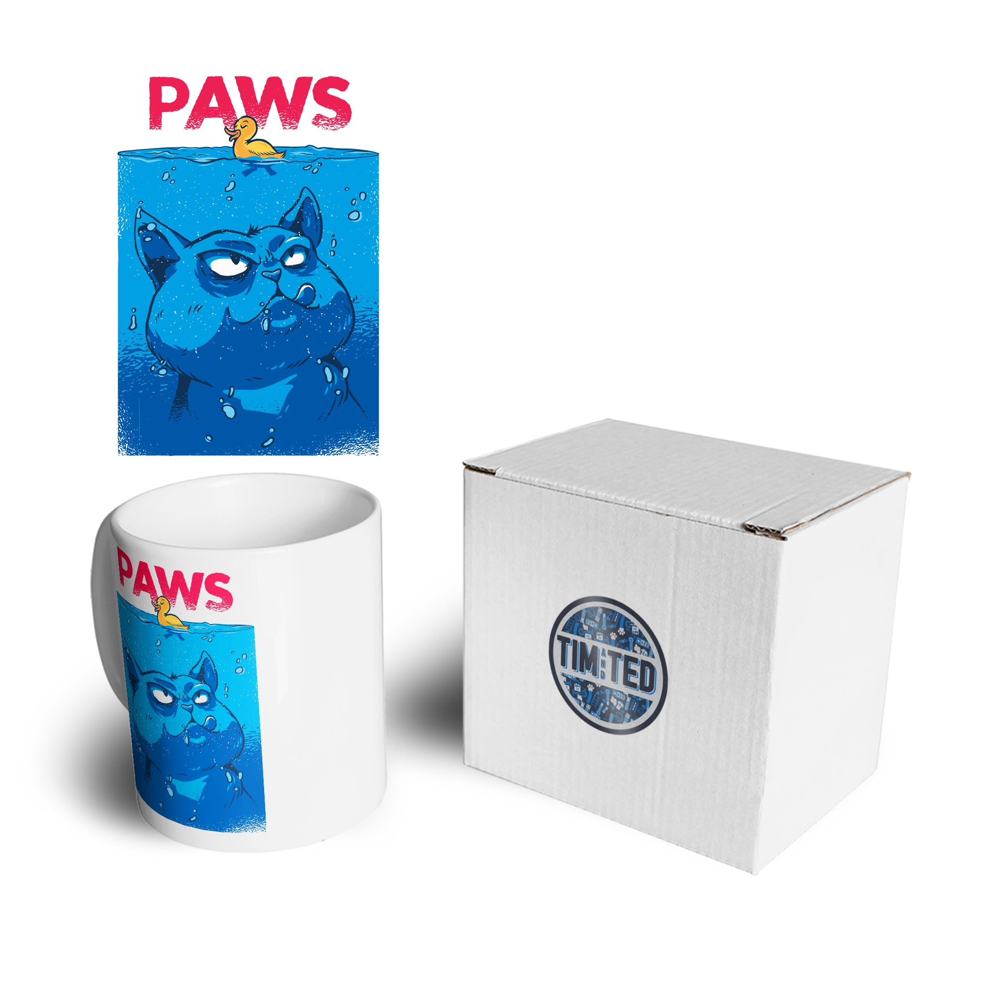 Funny Cat Mug Paws The Movie Jaws Parody Coffee Tea Cup