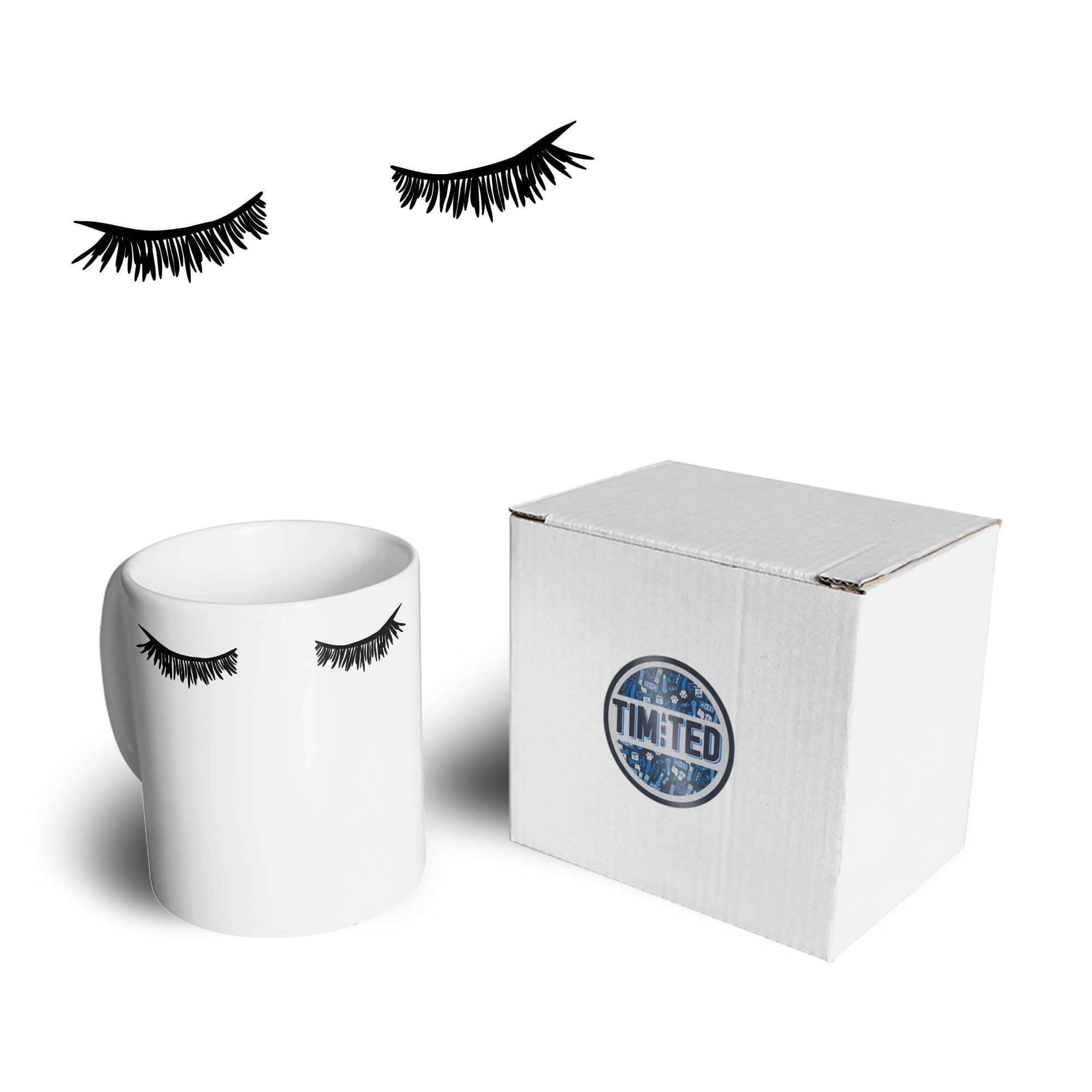 Closed Eyes Art Mug Eyelashes Makeup Mascara Coffee Tea Cup