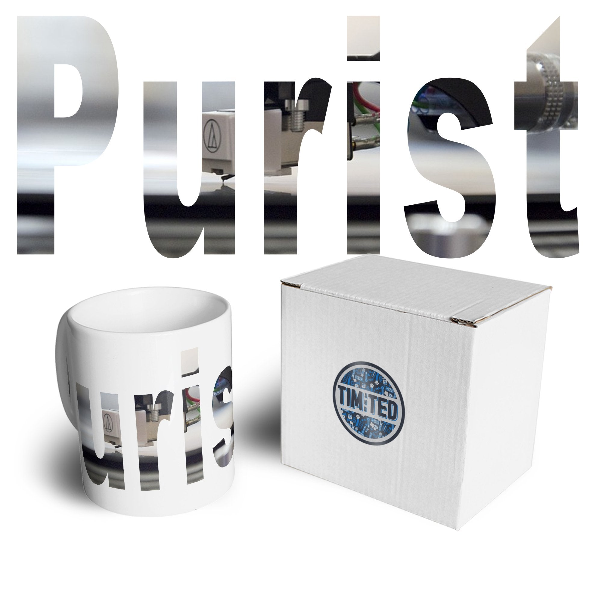 Old School DJ Mug Purist With Record Player Coffee Tea Cup