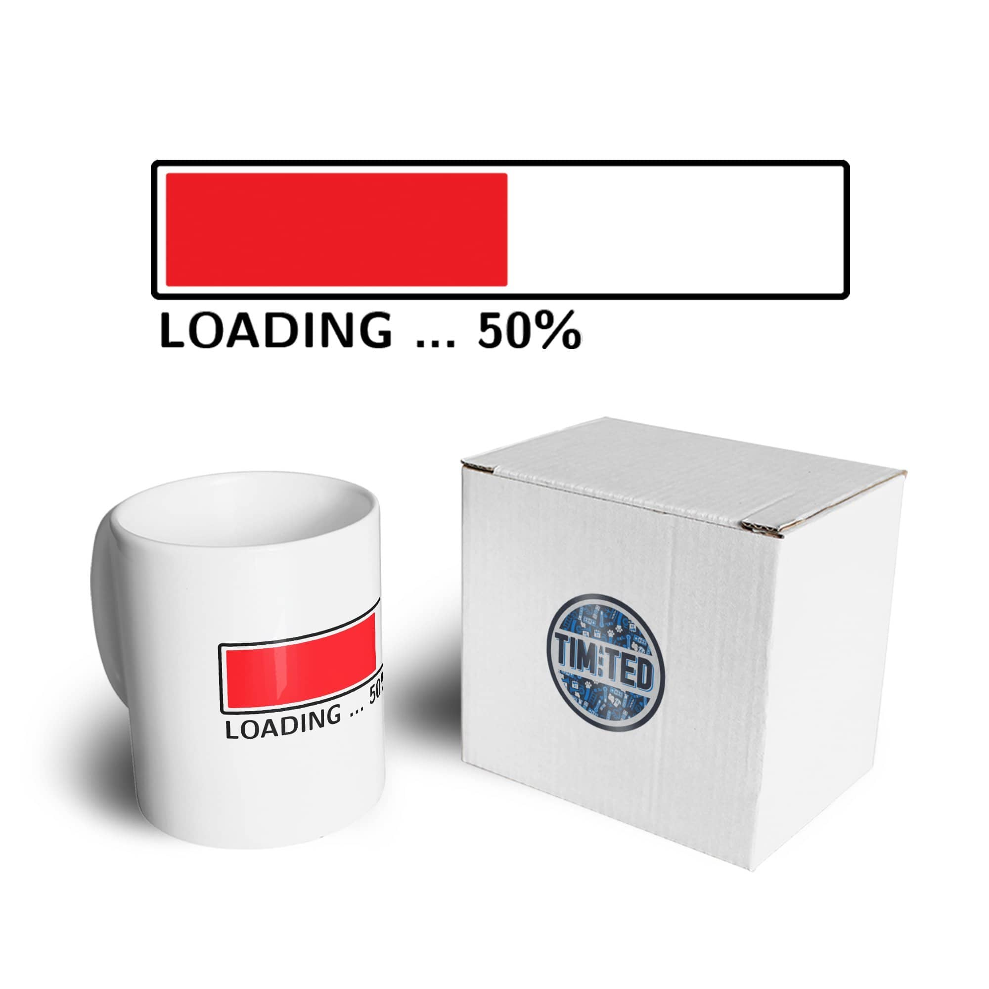 50th Birthday Mug Loading 50% Complete Fifty Coffee Tea Cup