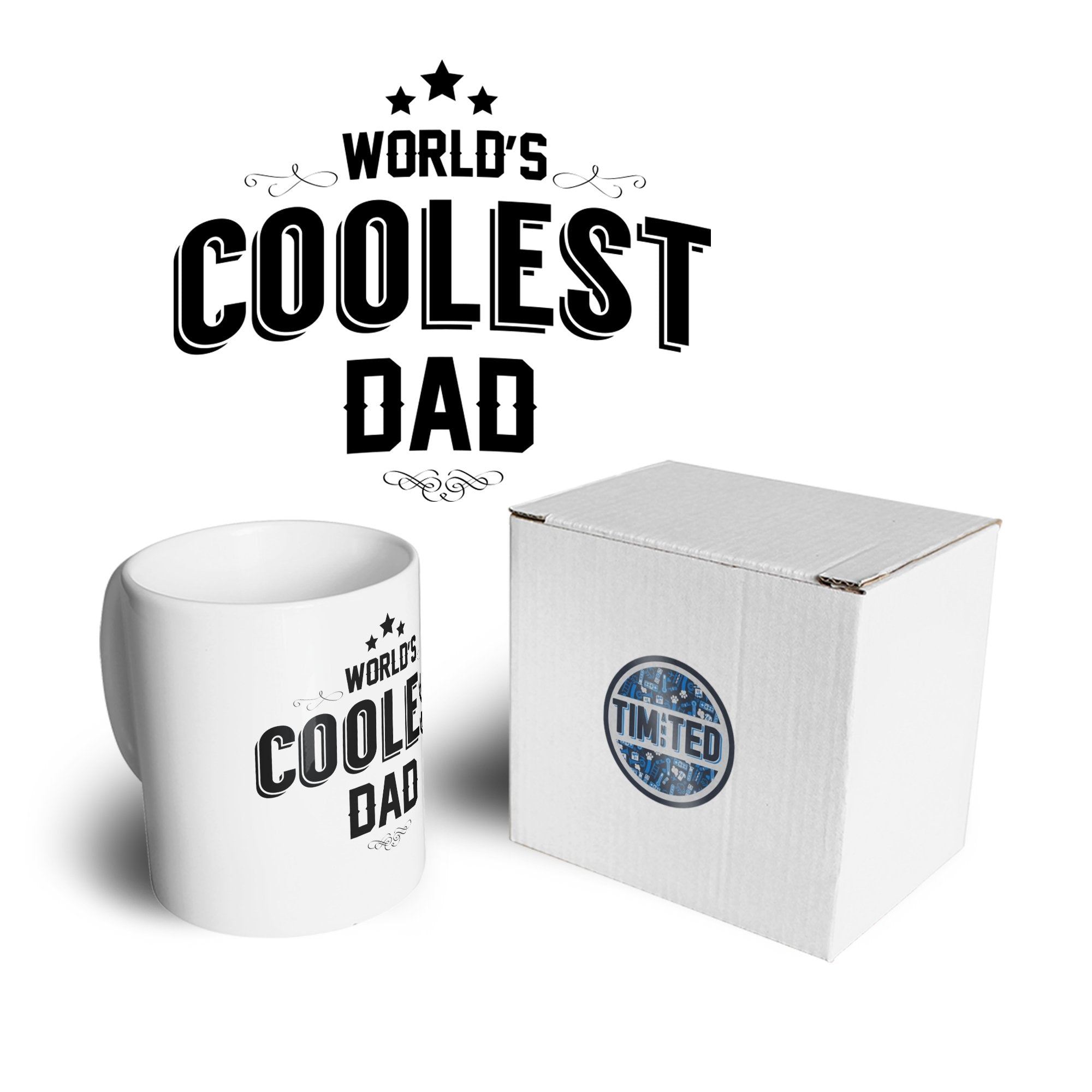 Novelty Tea Cup Mug Worlds Coolest Dad Slogan