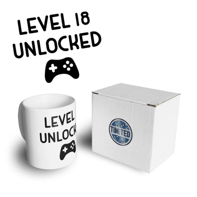 Gamers 18th Birthday Mug Level 18 Unlocked Slogan Coffee Tea Cup
