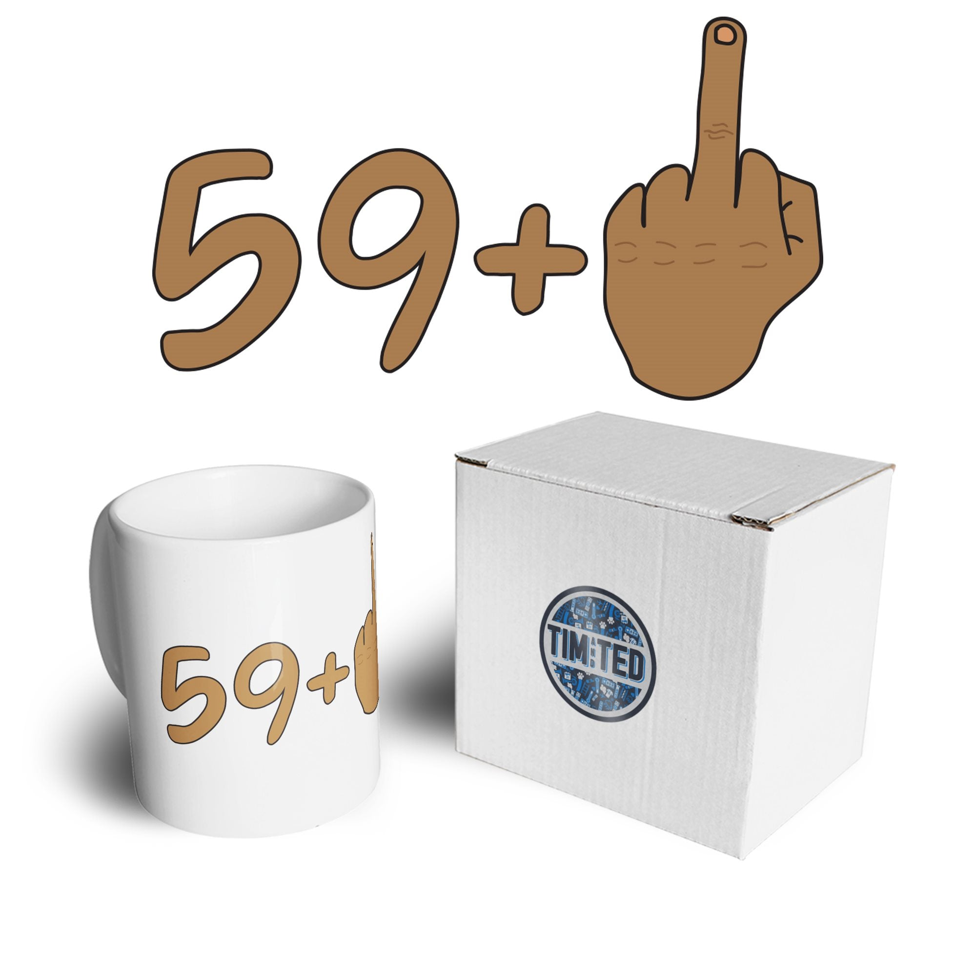 Rude 60th Birthday Mug Tanned Middle Finger Coffee Tea Cup