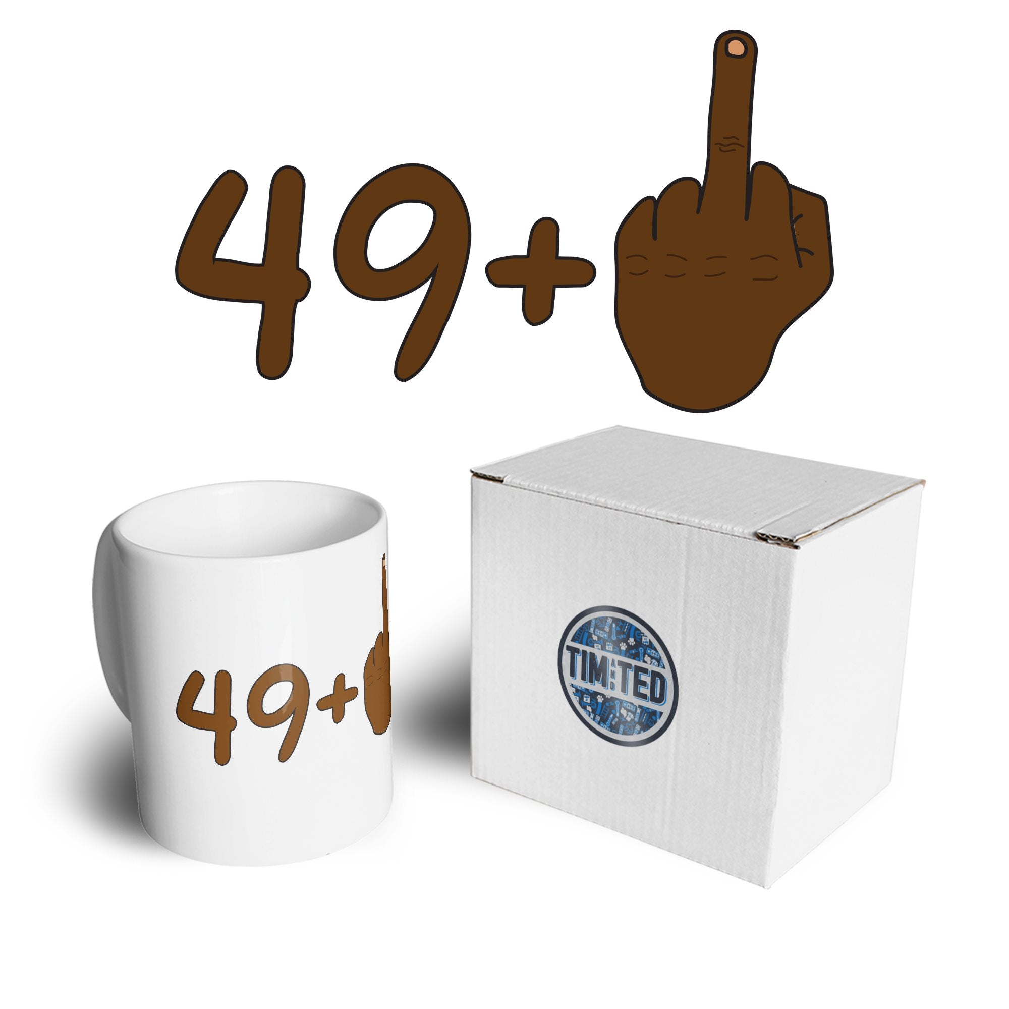 Rude 50th Birthday Mug Black Middle Finger Coffee Tea Cup