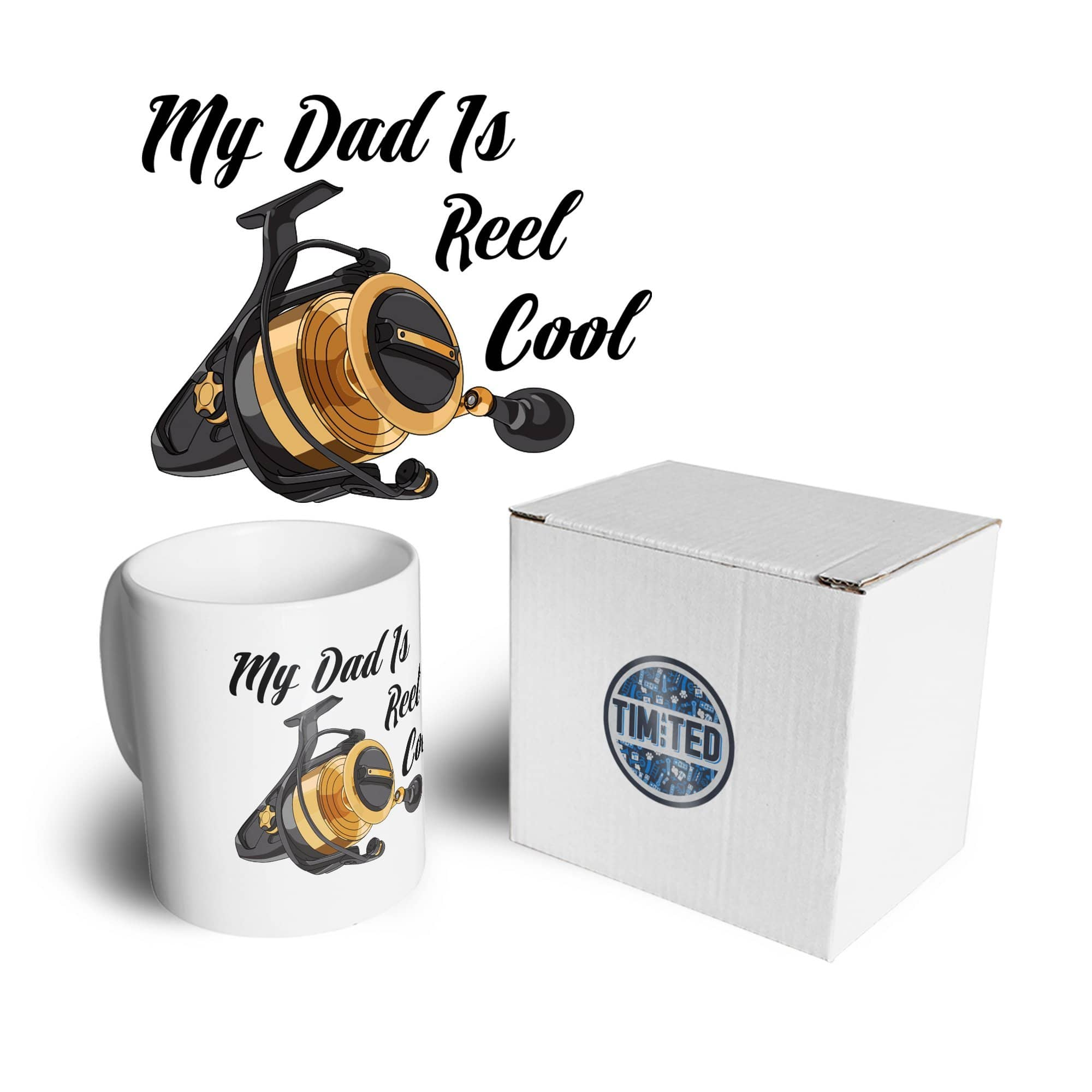 Father's Day Fishing Mug My Dad Is Reel Cool Pun Coffee Tea Cup