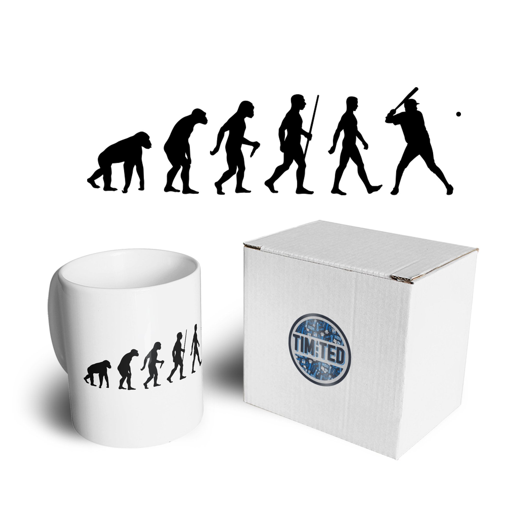 Sport Mug Evolution Of Baseball Homerun Batter Coffee Tea Cup
