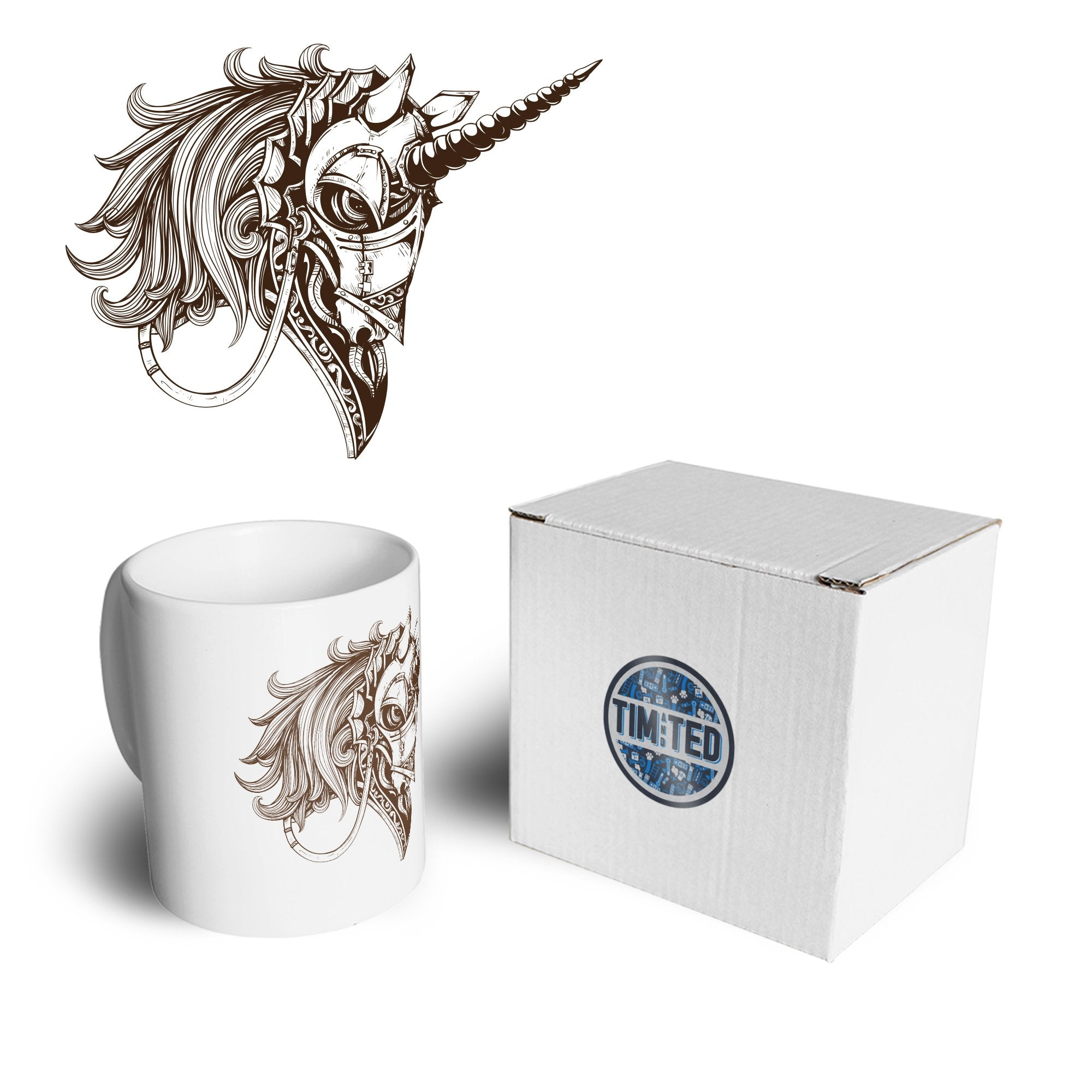 Gothic Art Mug Armoured Unicorn Graphic Coffee Tea Cup