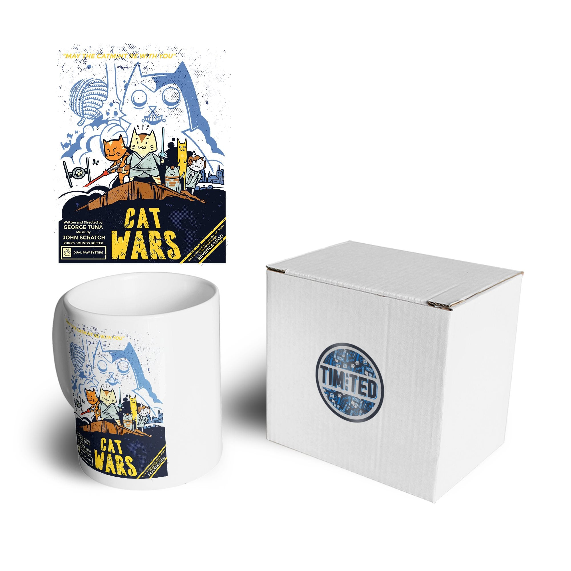 Cat Wars Mug Funny Star Parody Coffee Tea Cup