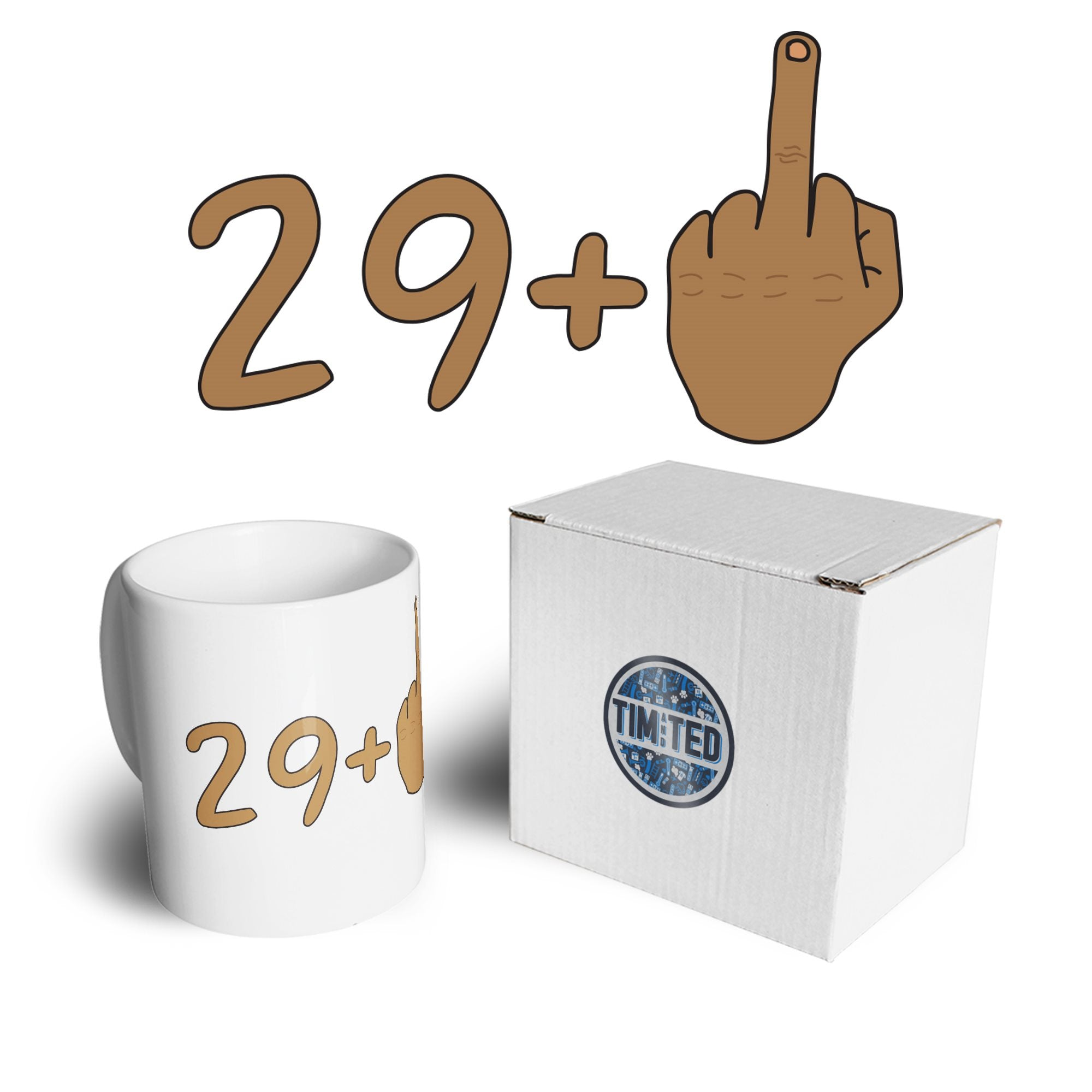 Rude 30th Birthday Mug Tanned Middle Finger Coffee Tea Cup