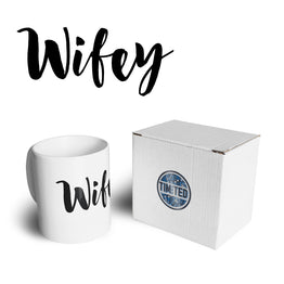 Novelty Couples Tea Cup Mug Wifey Unmarried Slogan