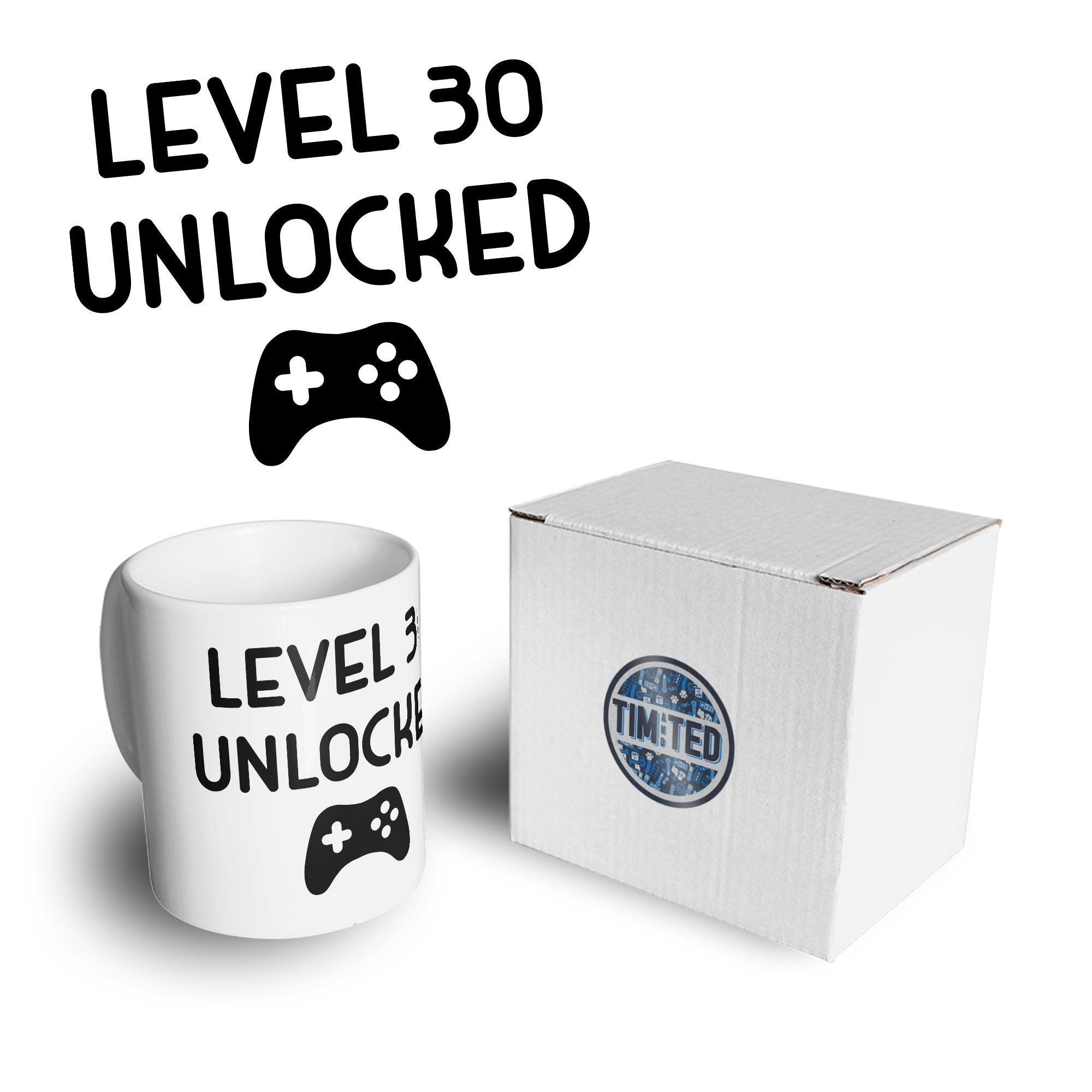 Gamers 30th Birthday Mug Level 30 Unlocked Slogan Coffee Tea Cup