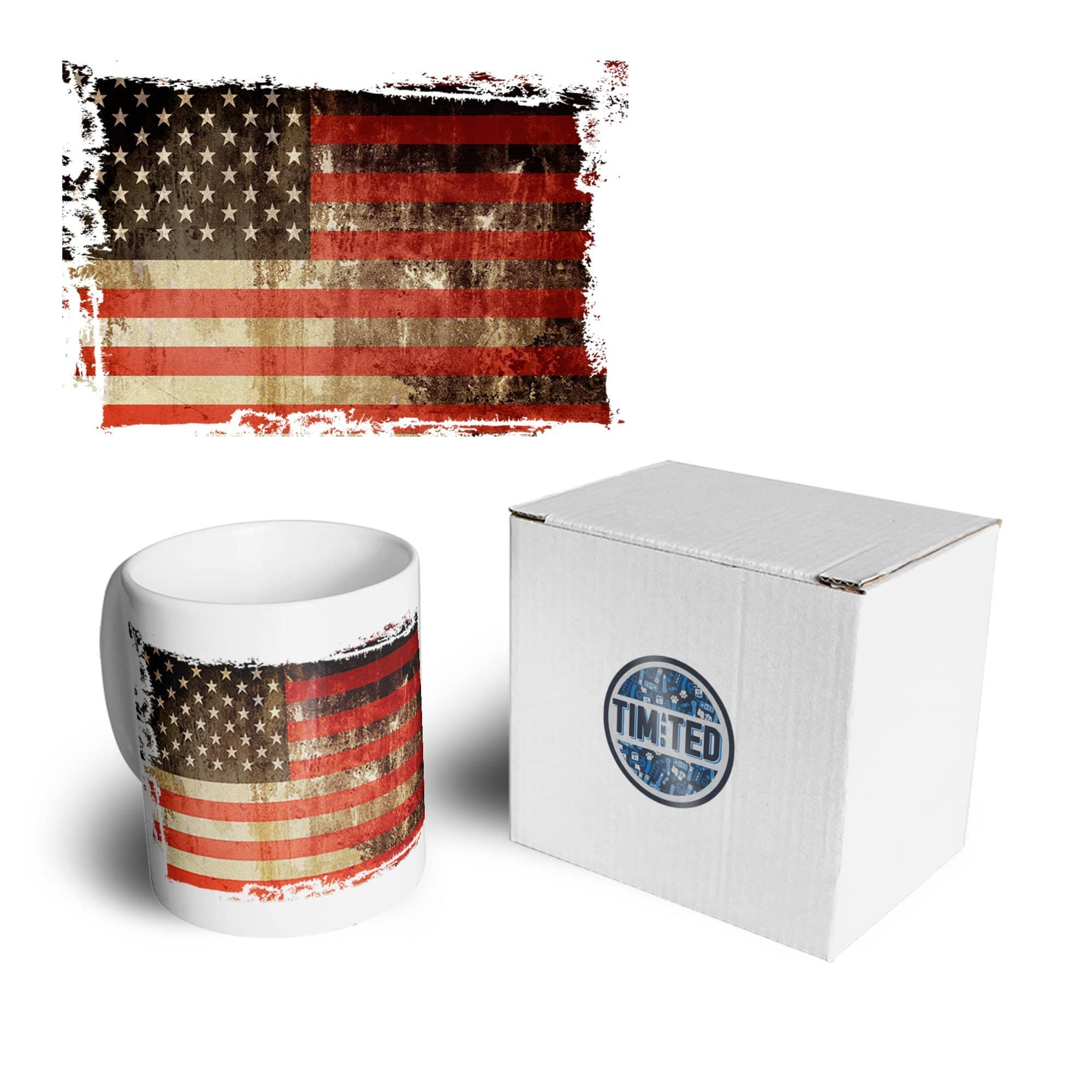 4th Of July Mug Distressed USA American Flag Art Coffee Tea Cup