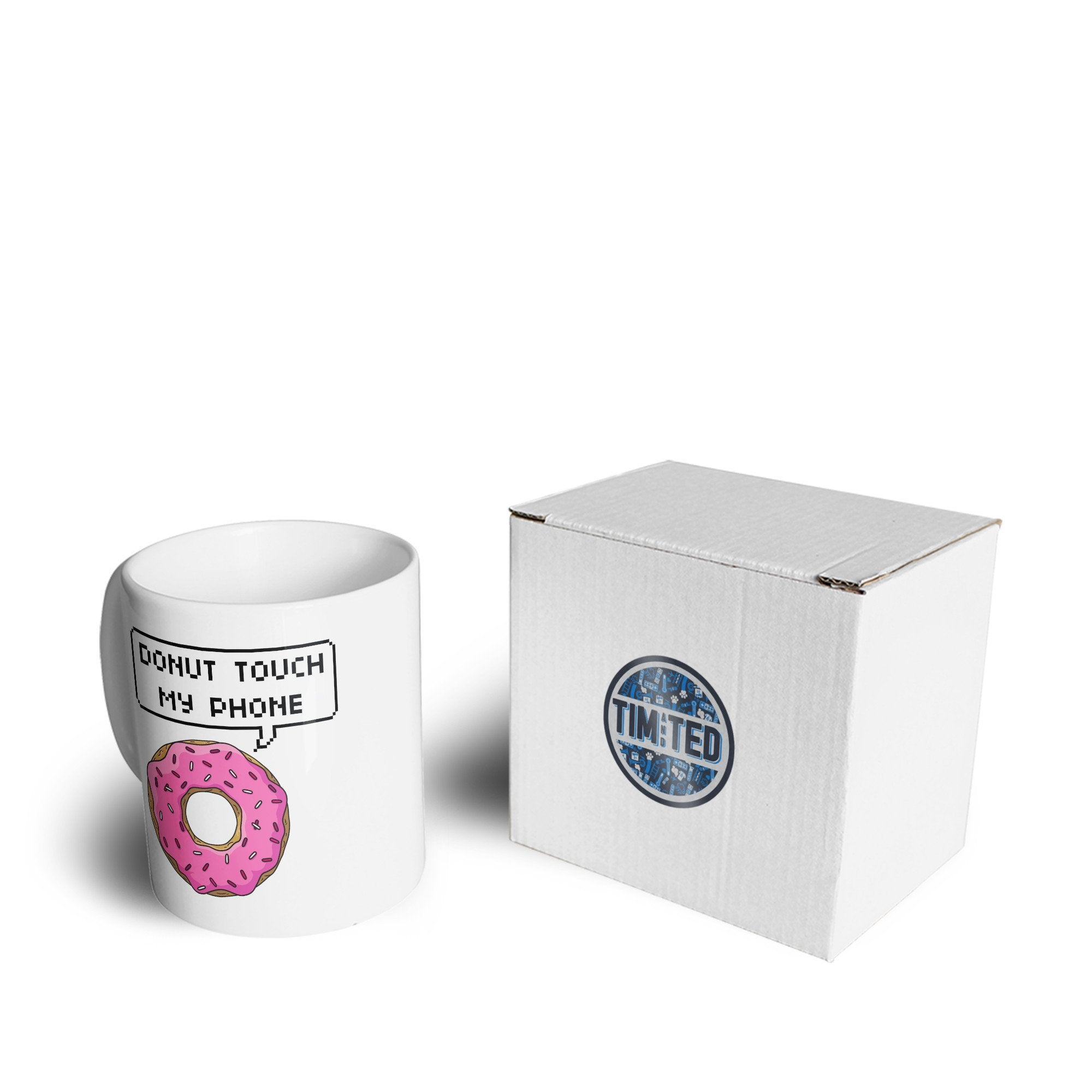 Novelty Slogan Mug Do Not Touch My Phone Donut Pun Coffee Tea Cup