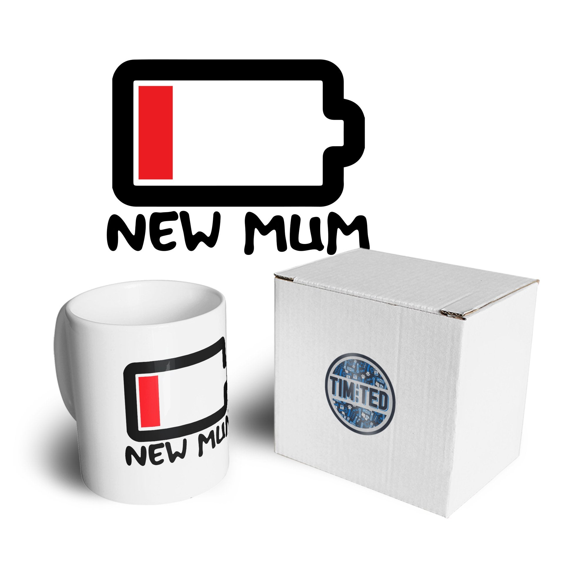 New Mum Mug Low Battery Remaining Novelty Joke Coffee Tea Cup