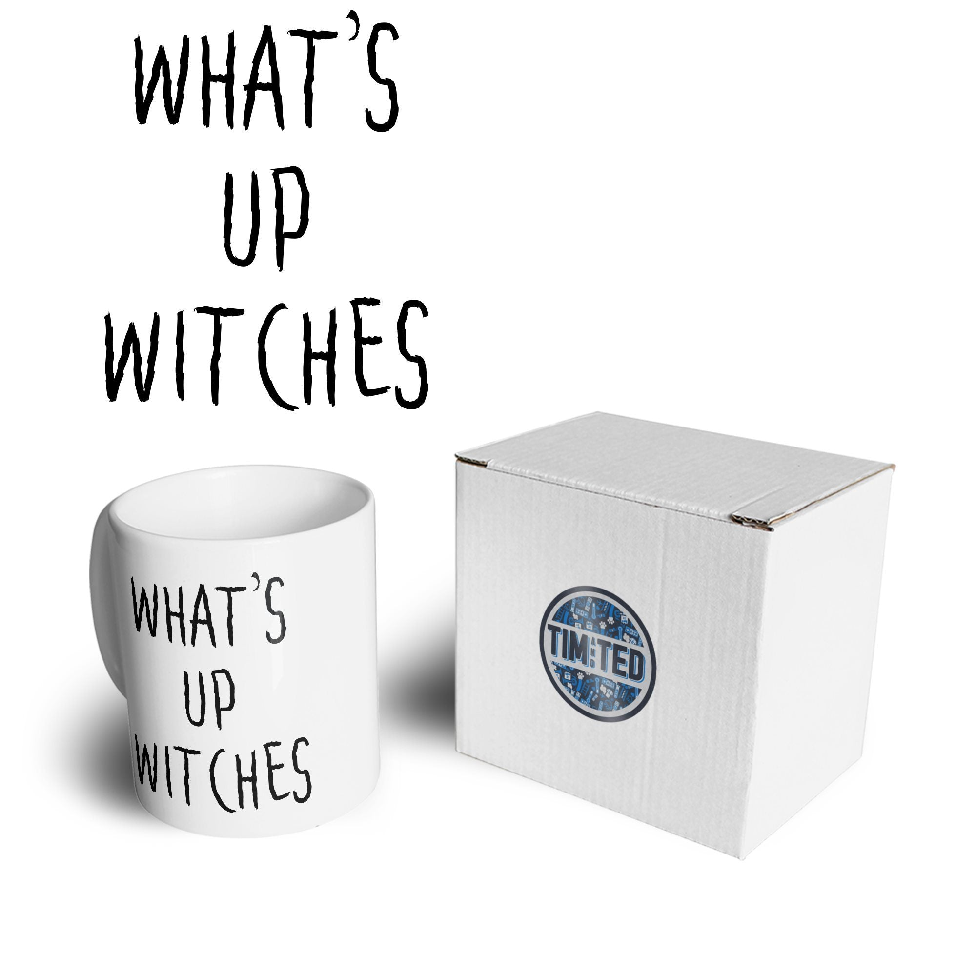 Novelty Halloween Mug What's Up Witches Pun Coffee Tea Cup