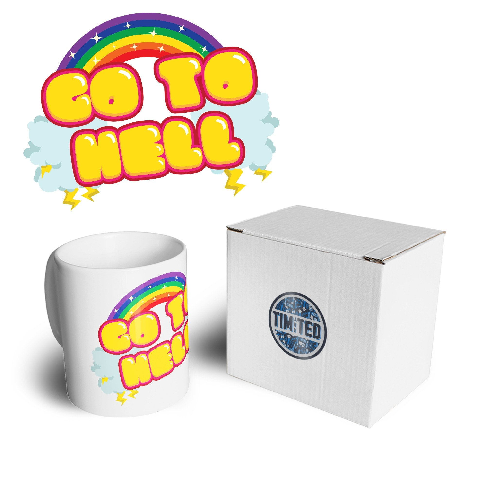 Novelty Rainbow Art Mug Go To Hell Gothic Slogan Coffee Tea Cup