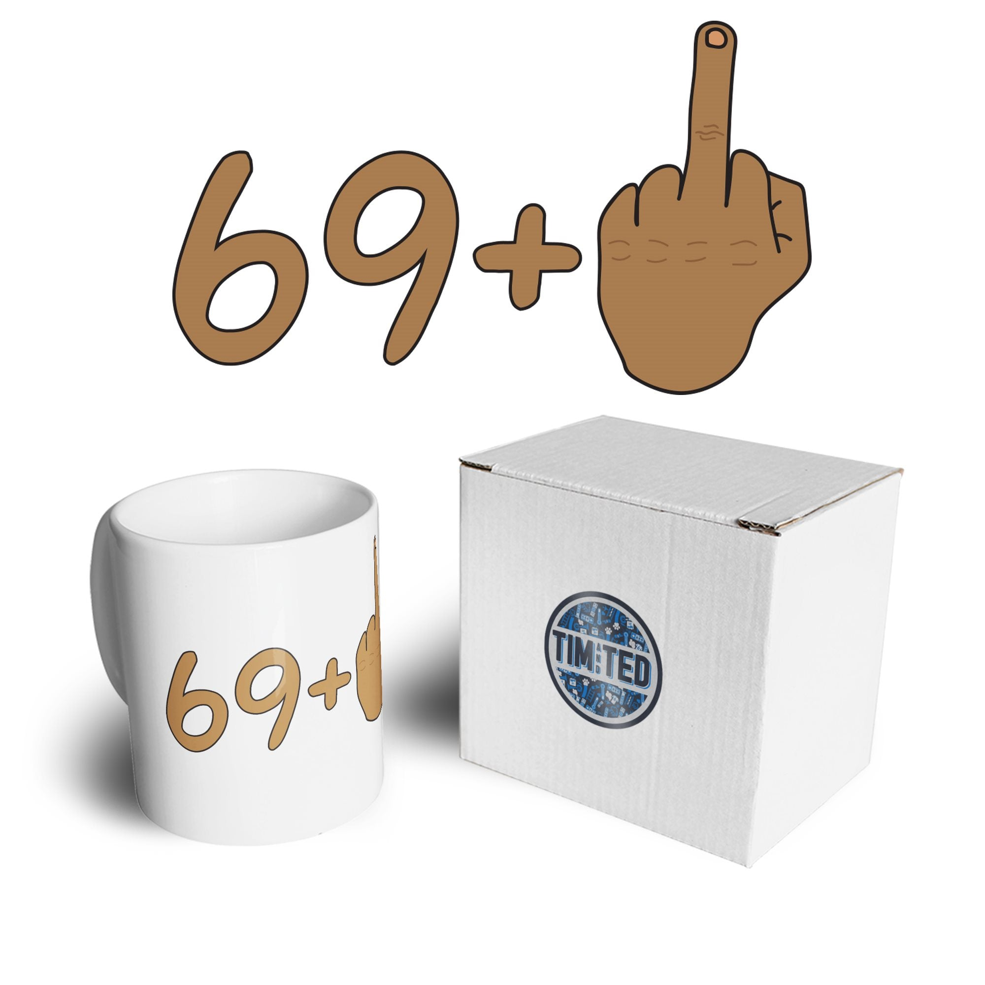 Rude 70th Birthday Mug Tanned Middle Finger Coffee Tea Cup