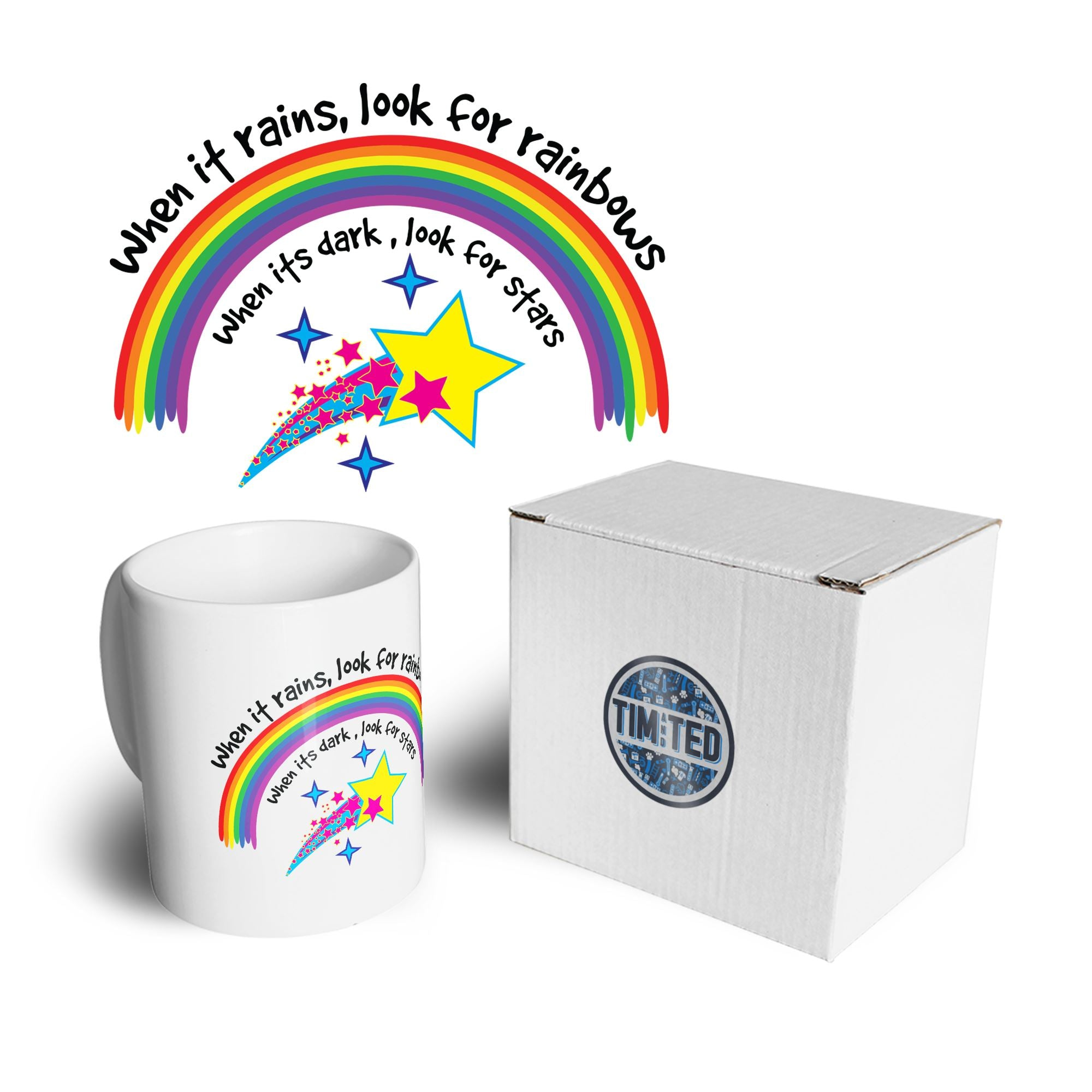 Inspirational Mug When It Rains, Look For Rainbows Coffee Tea Cup