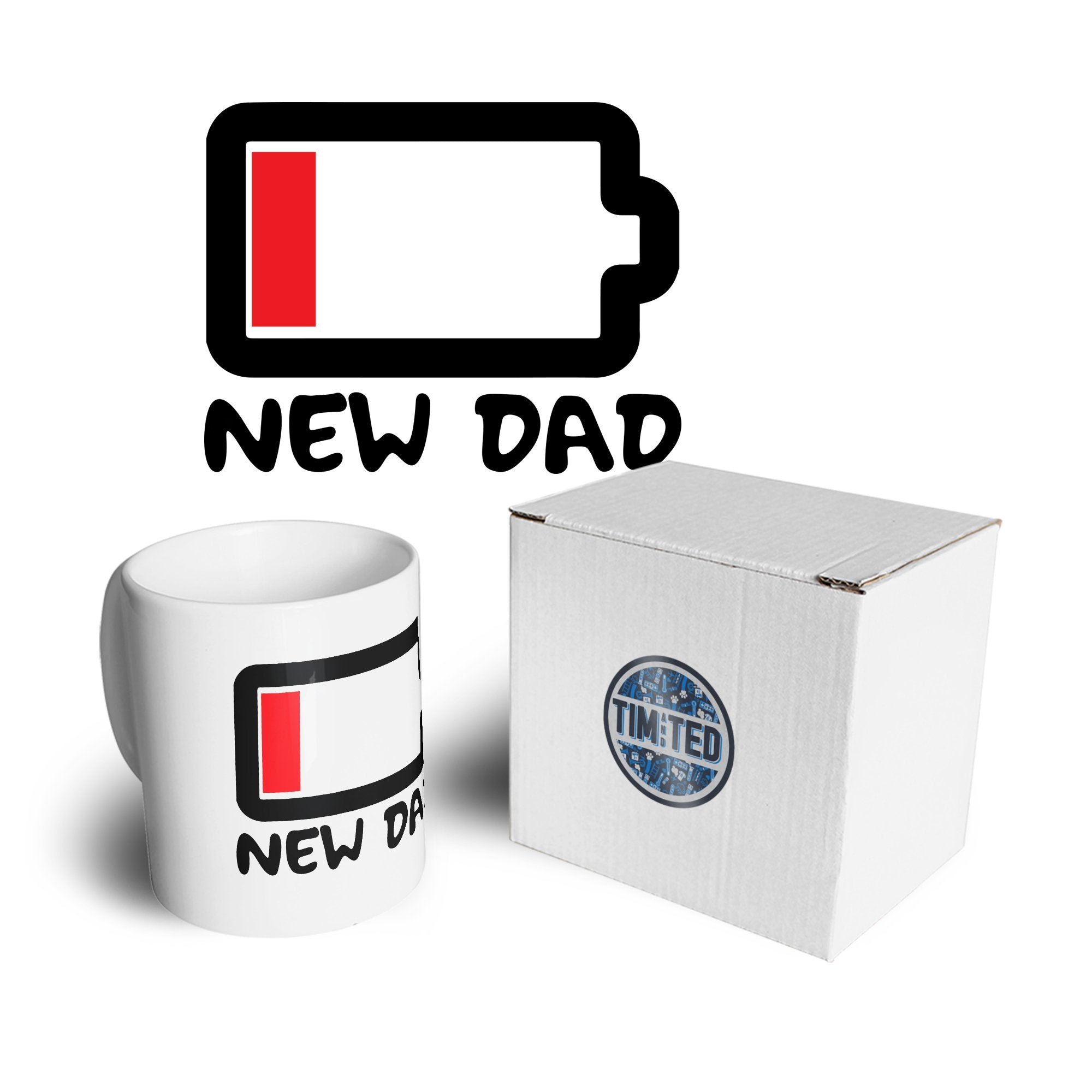 New Dad Mug Low Battery Remaining Novelty Joke Coffee Tea Cup