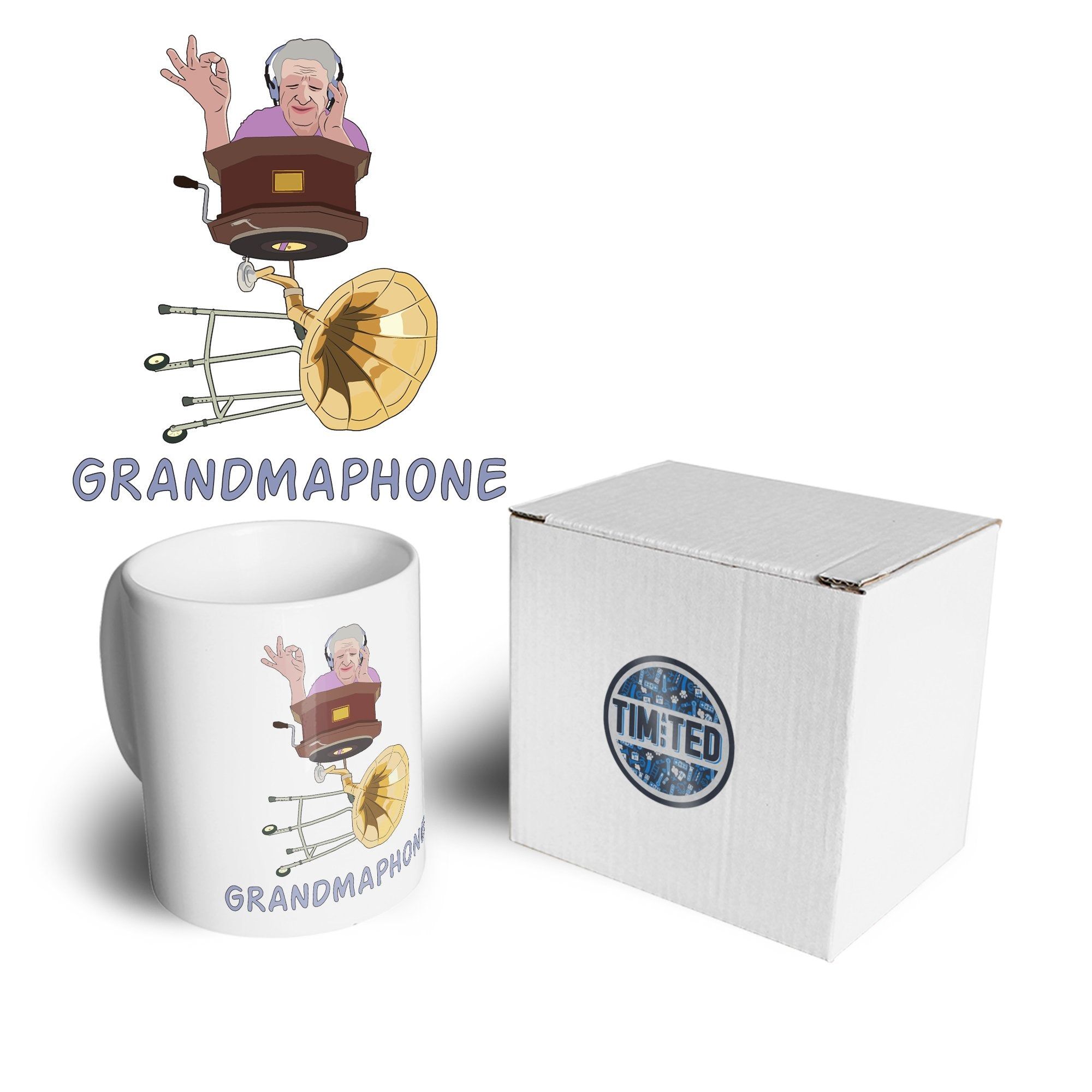 Novelty Music Mug Grandmaphone Illustration Coffee Tea Cup
