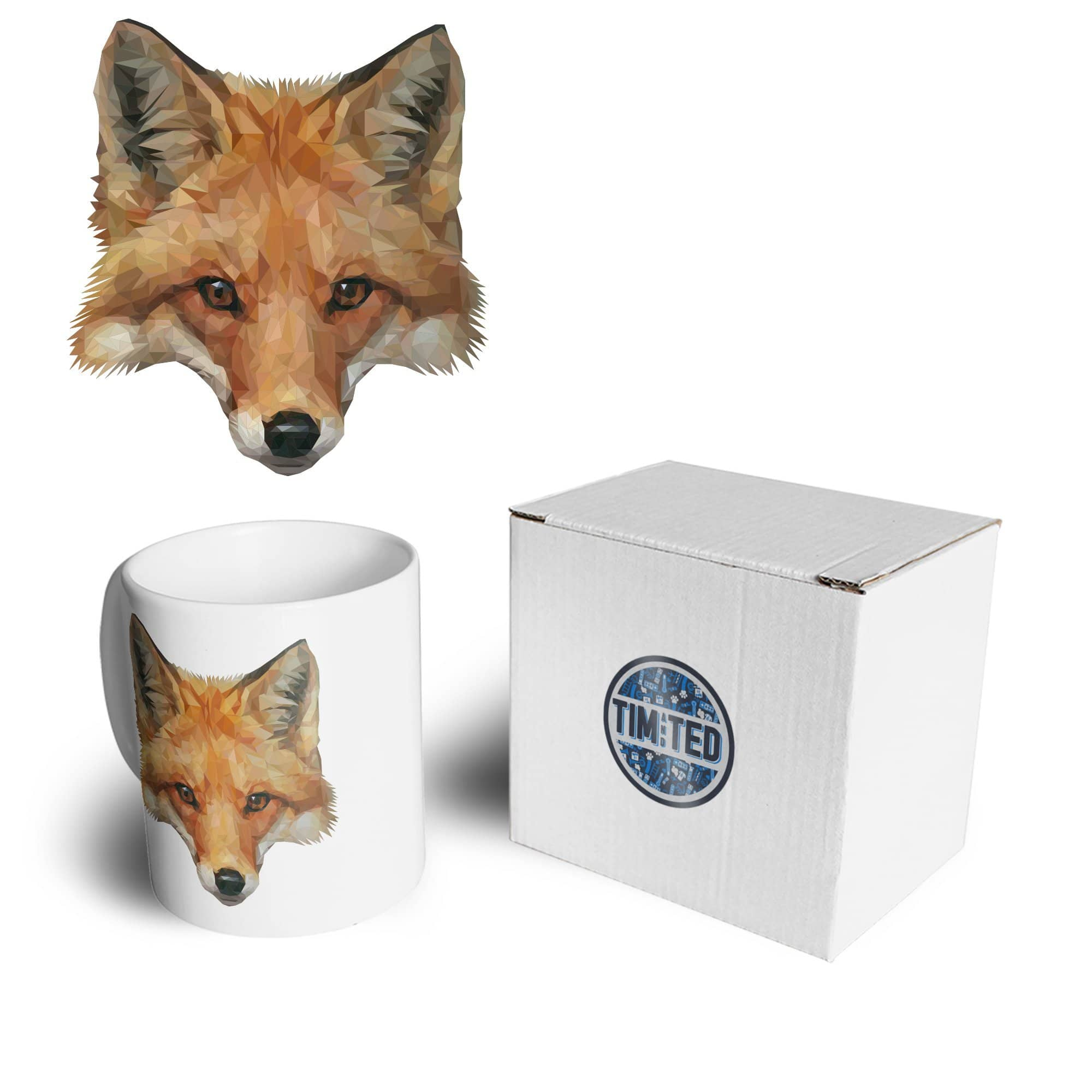 Animal Art Mug Low Poly Fox Graphic Coffee Tea Cup