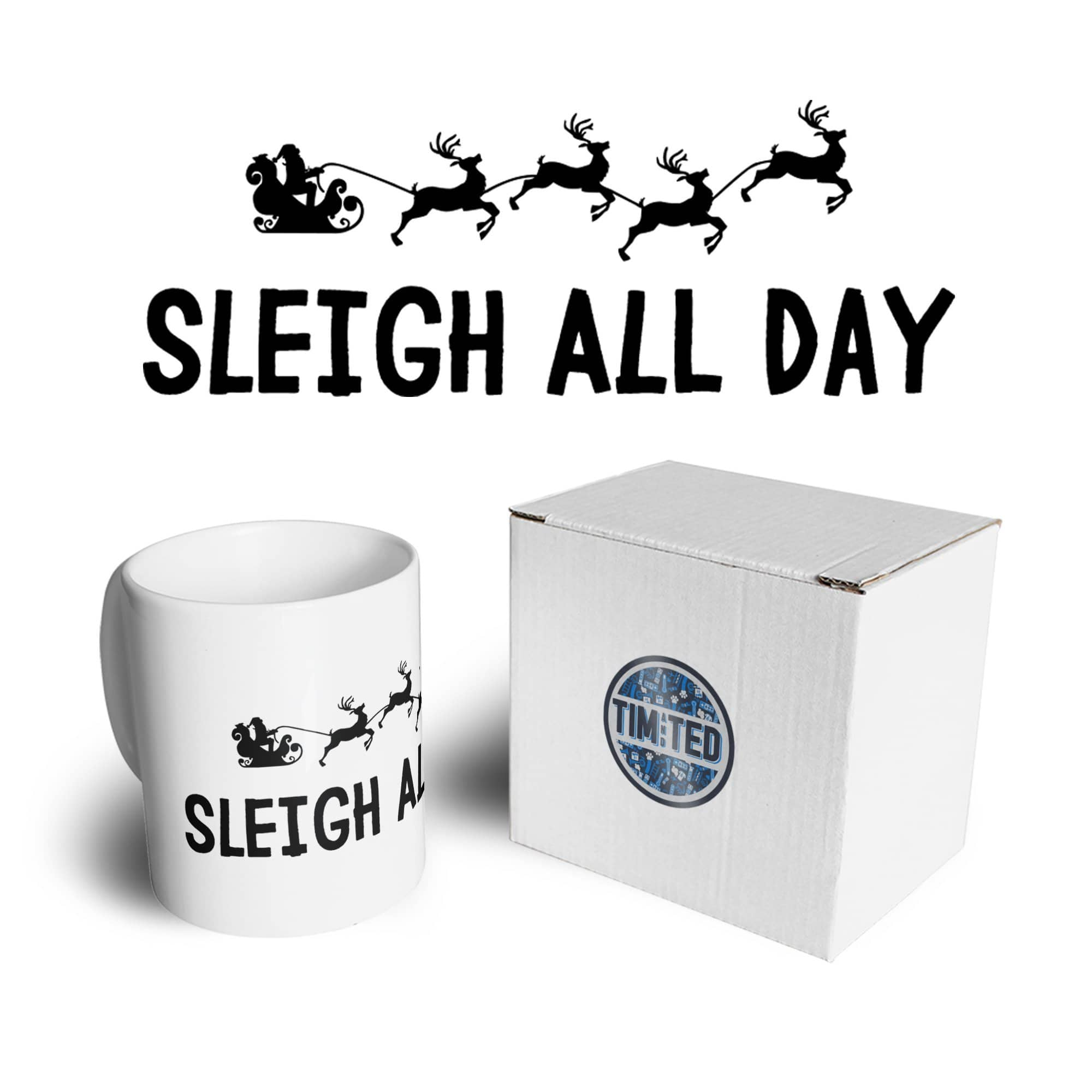 Joke Christmas Mug Sleigh Slay All Day Pun Novelty Coffee Tea Cup