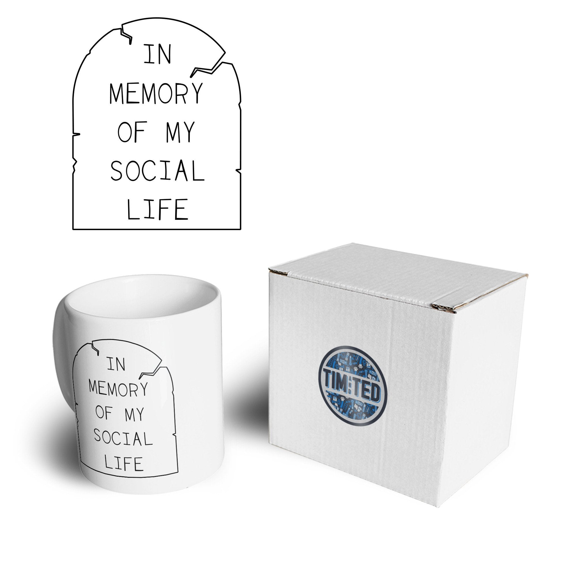 Novelty Mug In Memory Of My Social Life Tombstone Coffee Tea Cup