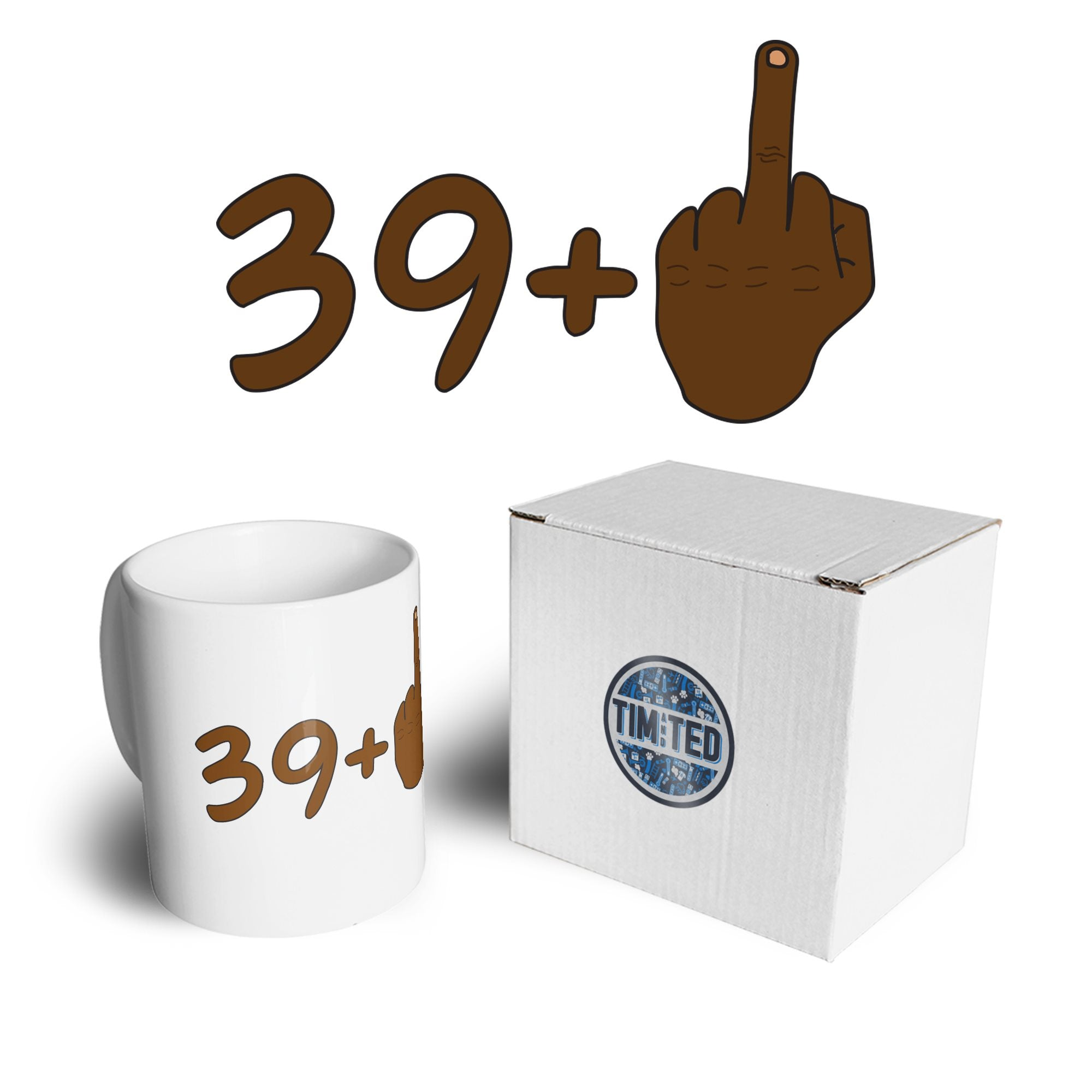 Rude 40th Birthday Mug Black Middle Finger Coffee Tea Cup
