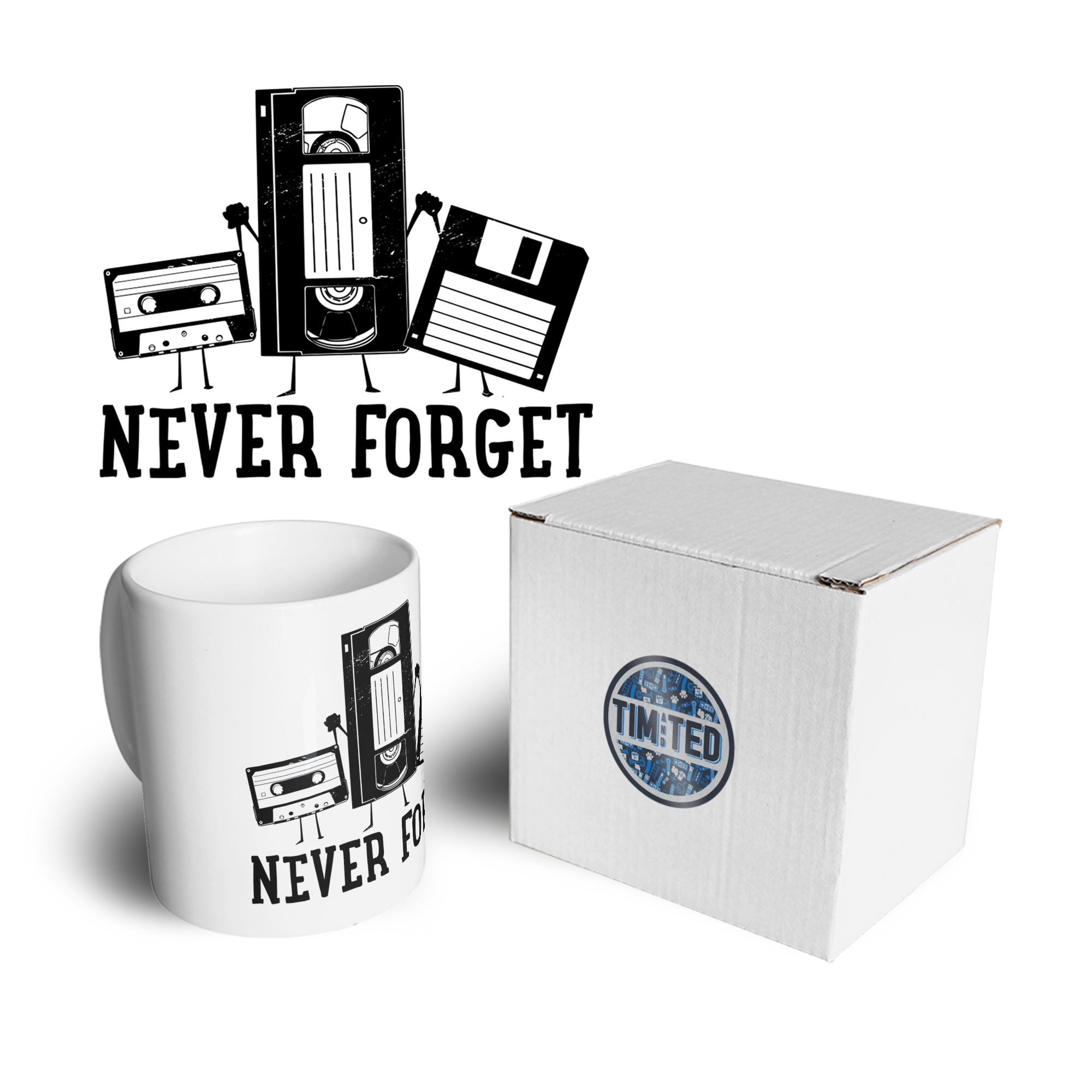 Retro Mug Never Forget VHS and Floppy Discs Coffee Tea Cup