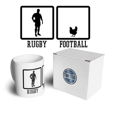 Joke Sports Mug Rugby Vs Football Chicken Novelty Coffee Tea Cup