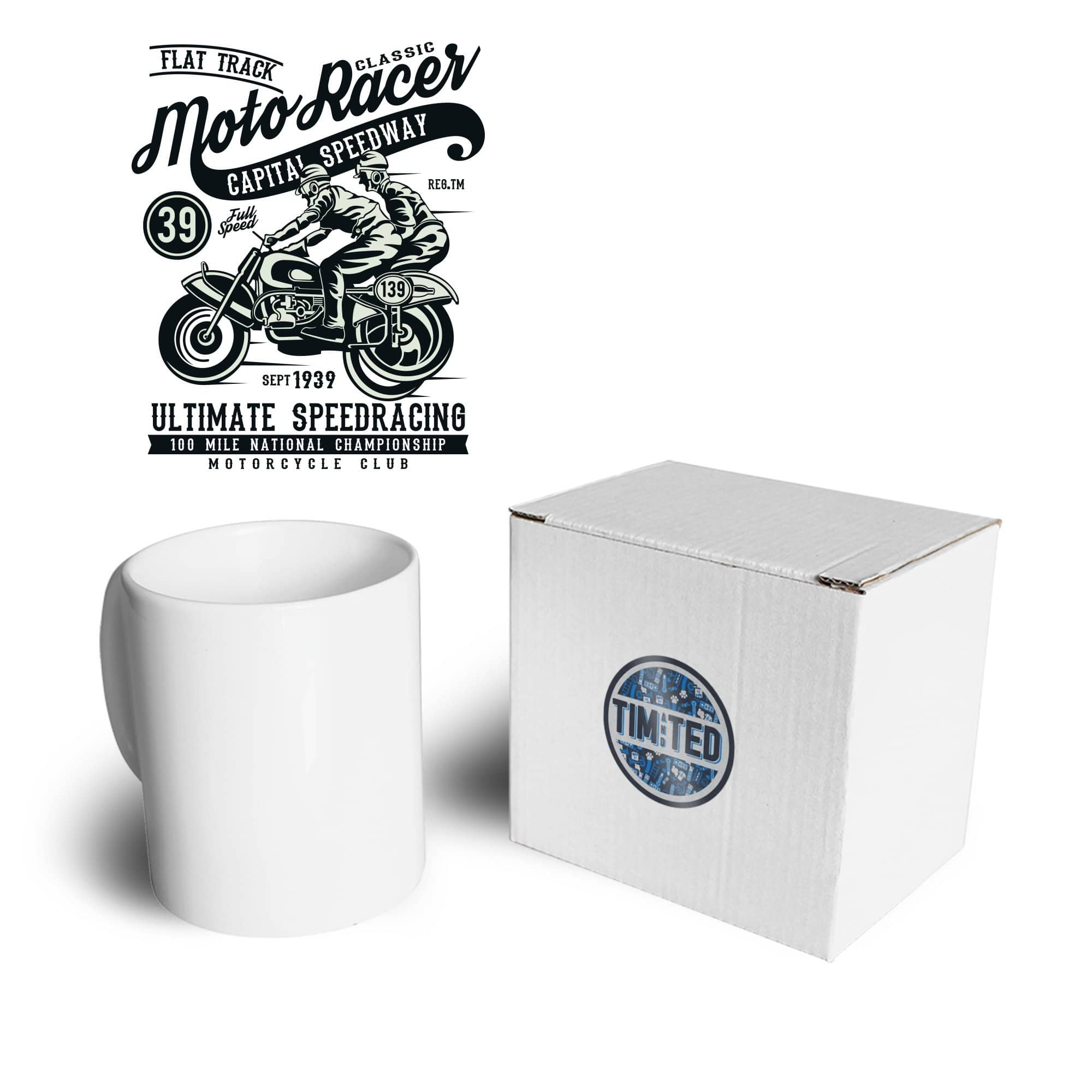 Biker Mug Classic Moto Racer Captial Speedway Art Coffee Tea Cup