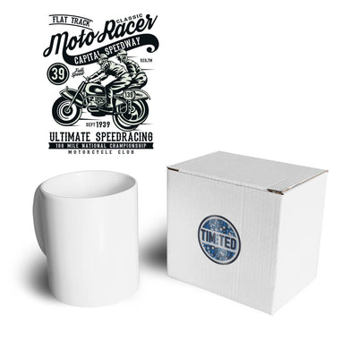 Classic Moto Racer Bikers Mug in White with Black Text and Presentation Box