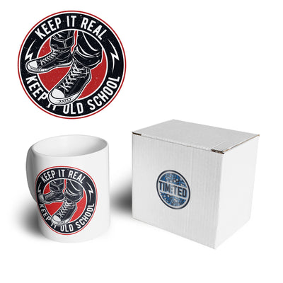 Retro Mug Keep It Real, Keep It Old School Logo Coffee Tea Cup