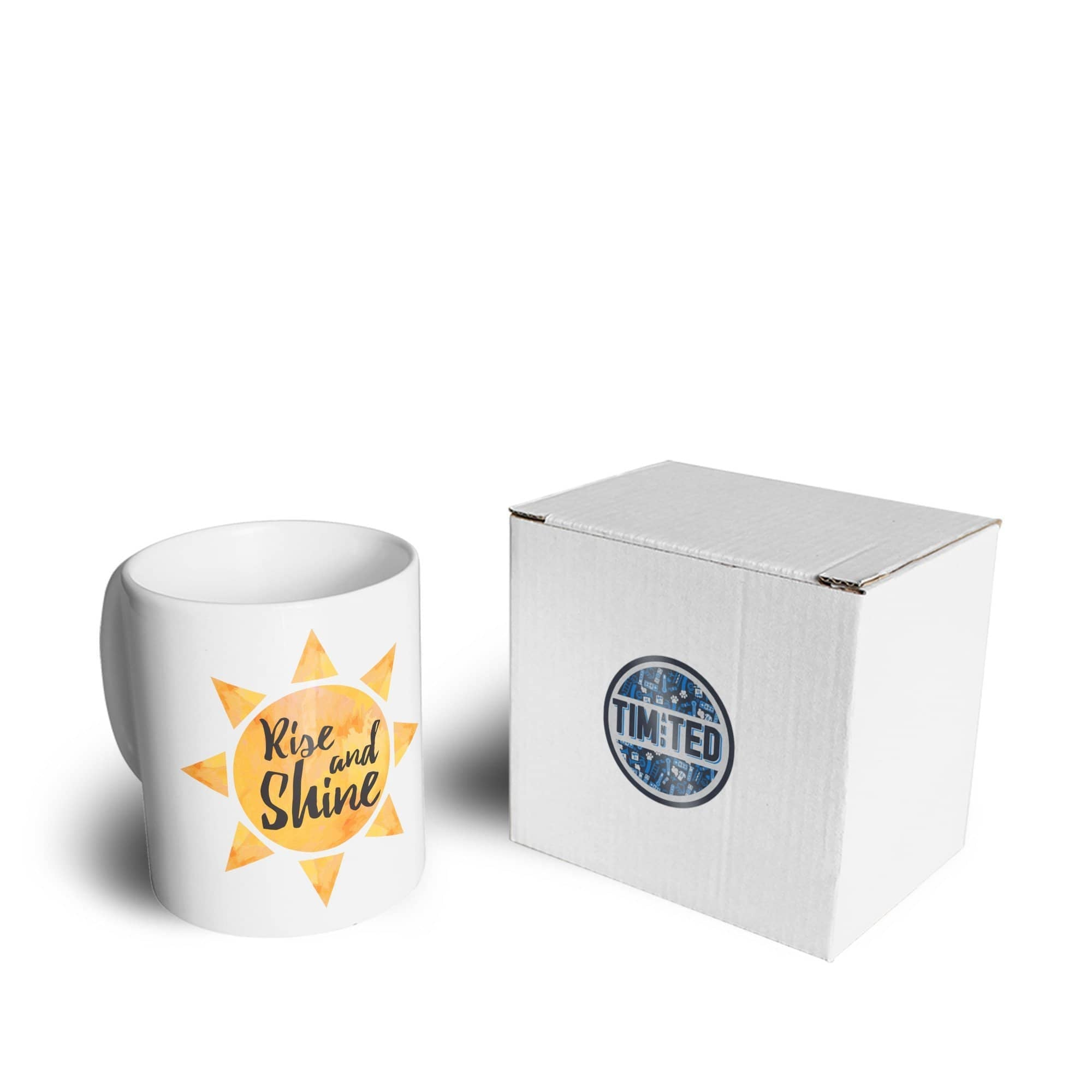 Early Morning Mug Rise And Shine Slogan With Sun Coffee Tea Cup