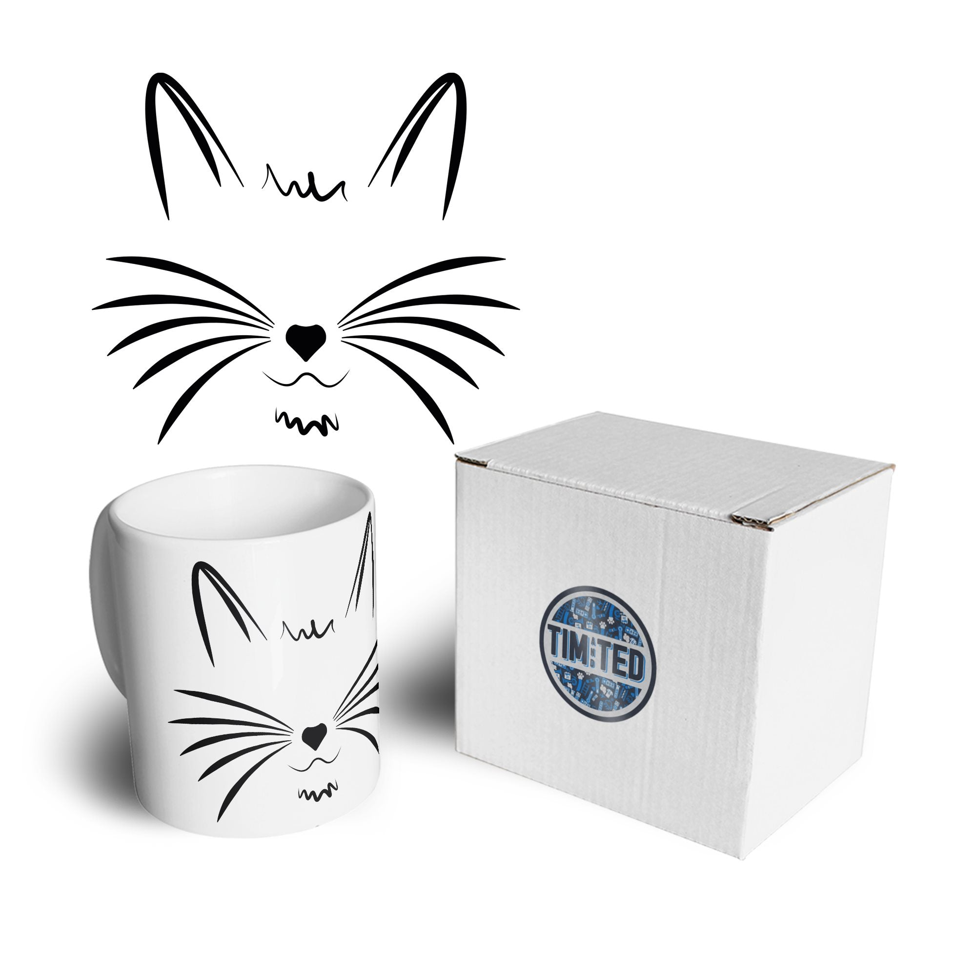 I Love Cats Mug Face with Heart Nose Coffee Tea Cup