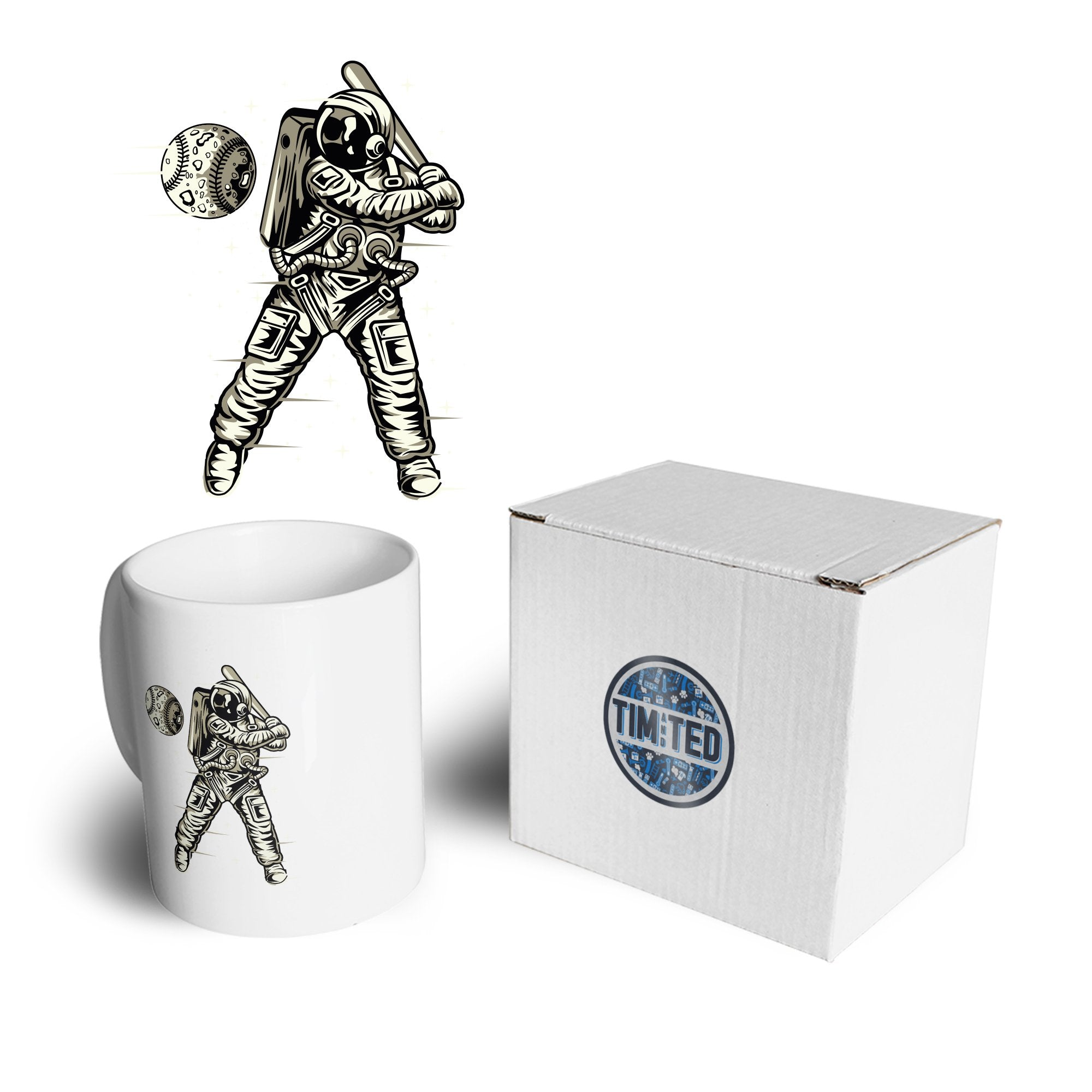Geeky Sports Mug Astronaut Space Baseball Art Coffee Tea Cup