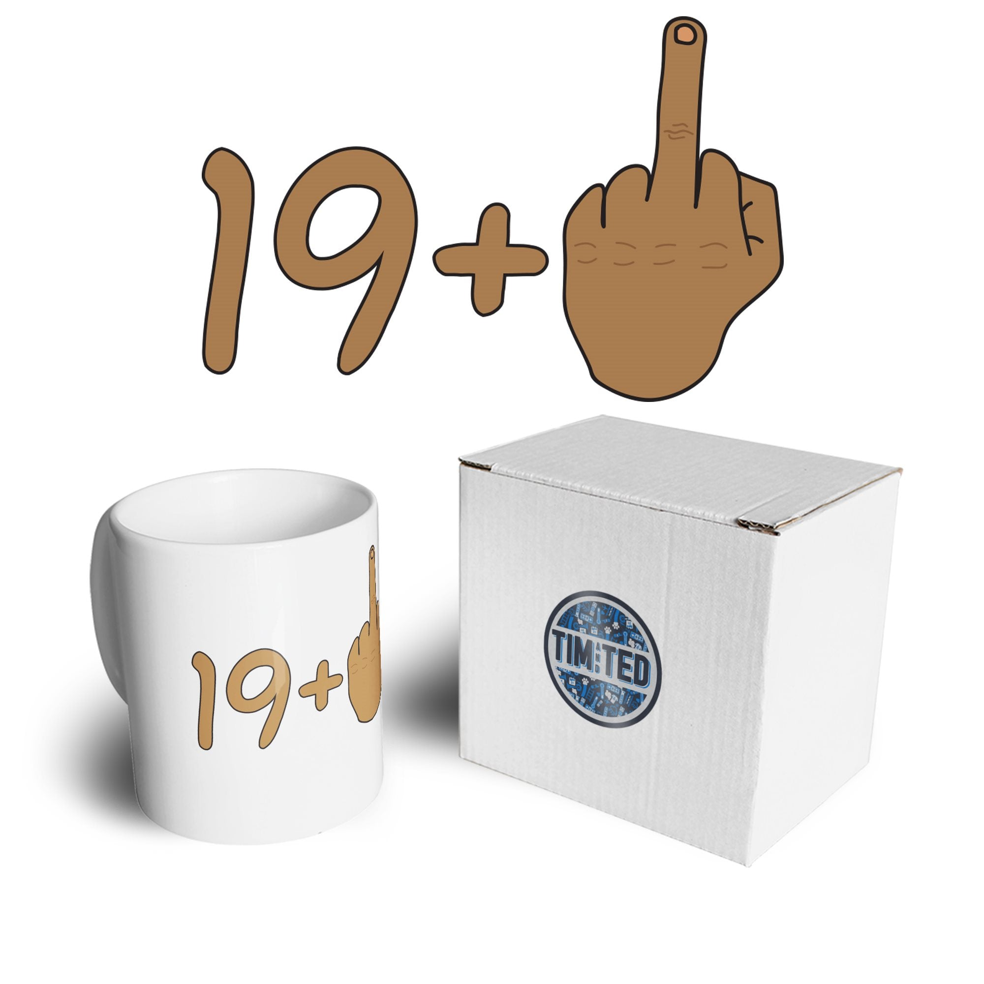 Rude 20th Birthday Mug Tanned Middle Finger Coffee Tea Cup