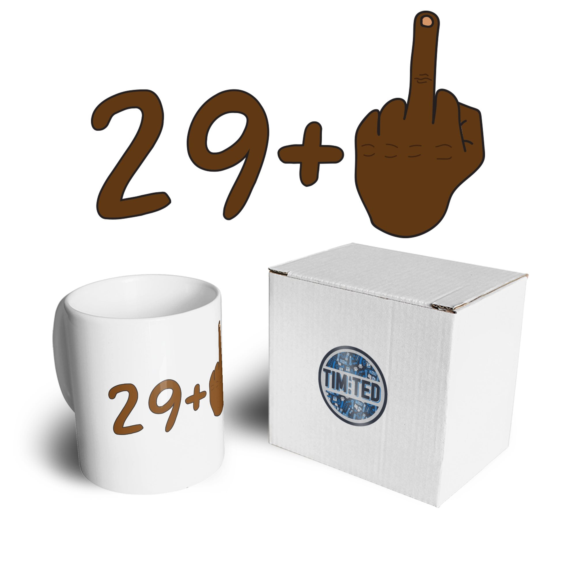Rude 30th Birthday Mug Black Middle Finger Coffee Tea Cup