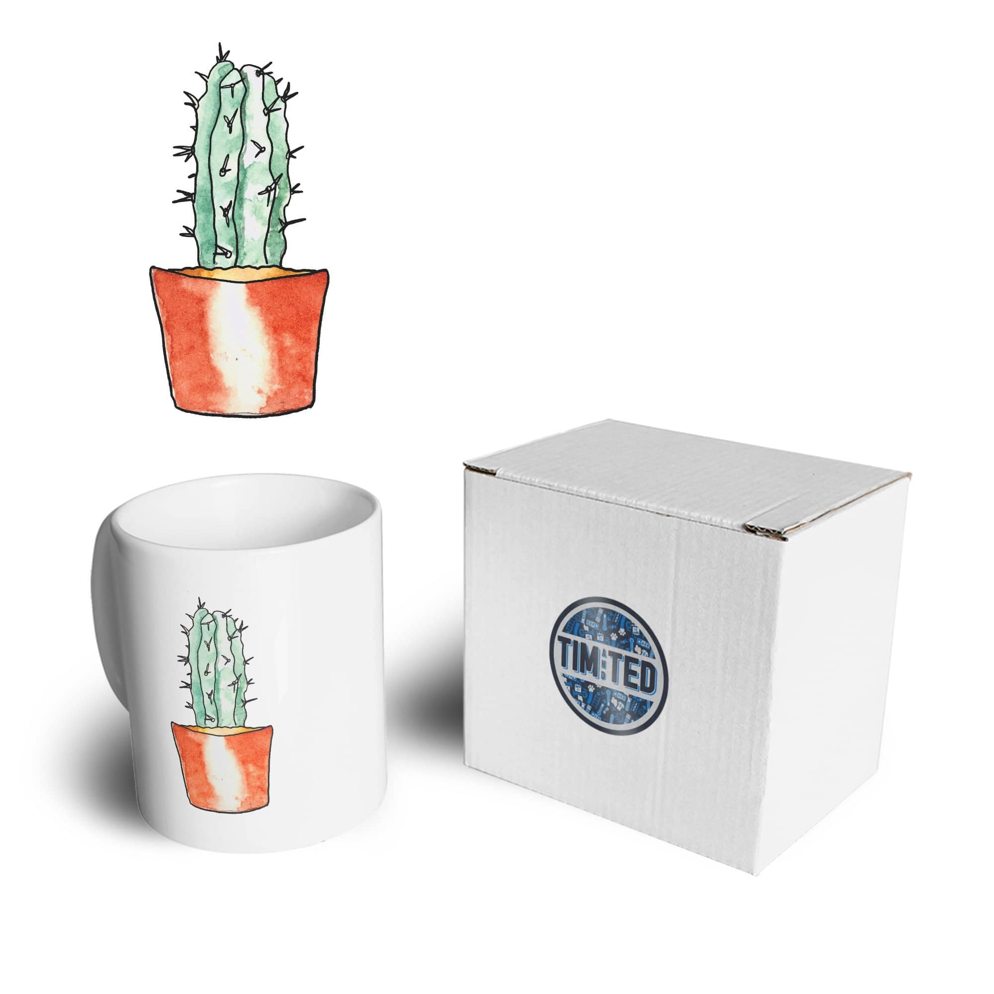 Cute Plant Mug Drawn Cactus Art Pocket Print Coffee Tea Cup