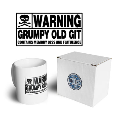 Novelty Mug Warning, Grumpy Old Git Slogan Joke Coffee Tea Cup