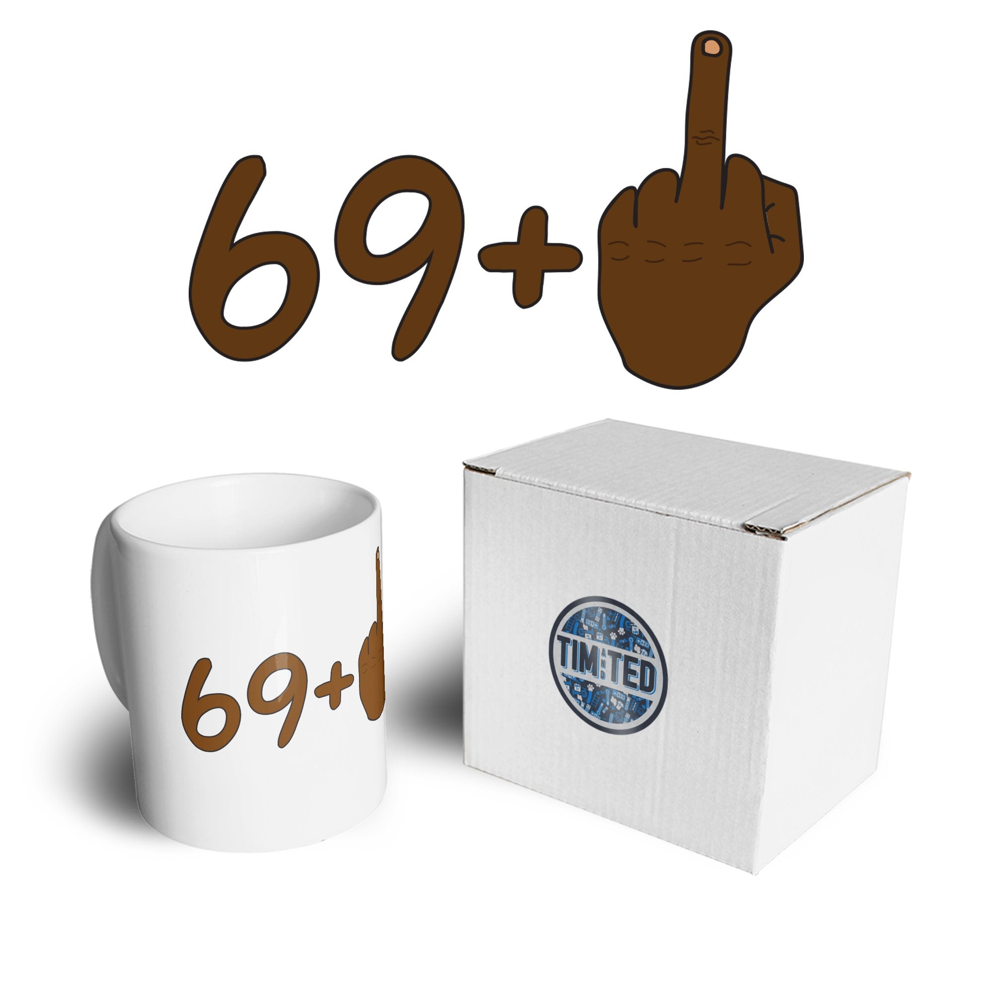 Rude 70th Birthday Mug Black Middle Finger Coffee Tea Cup