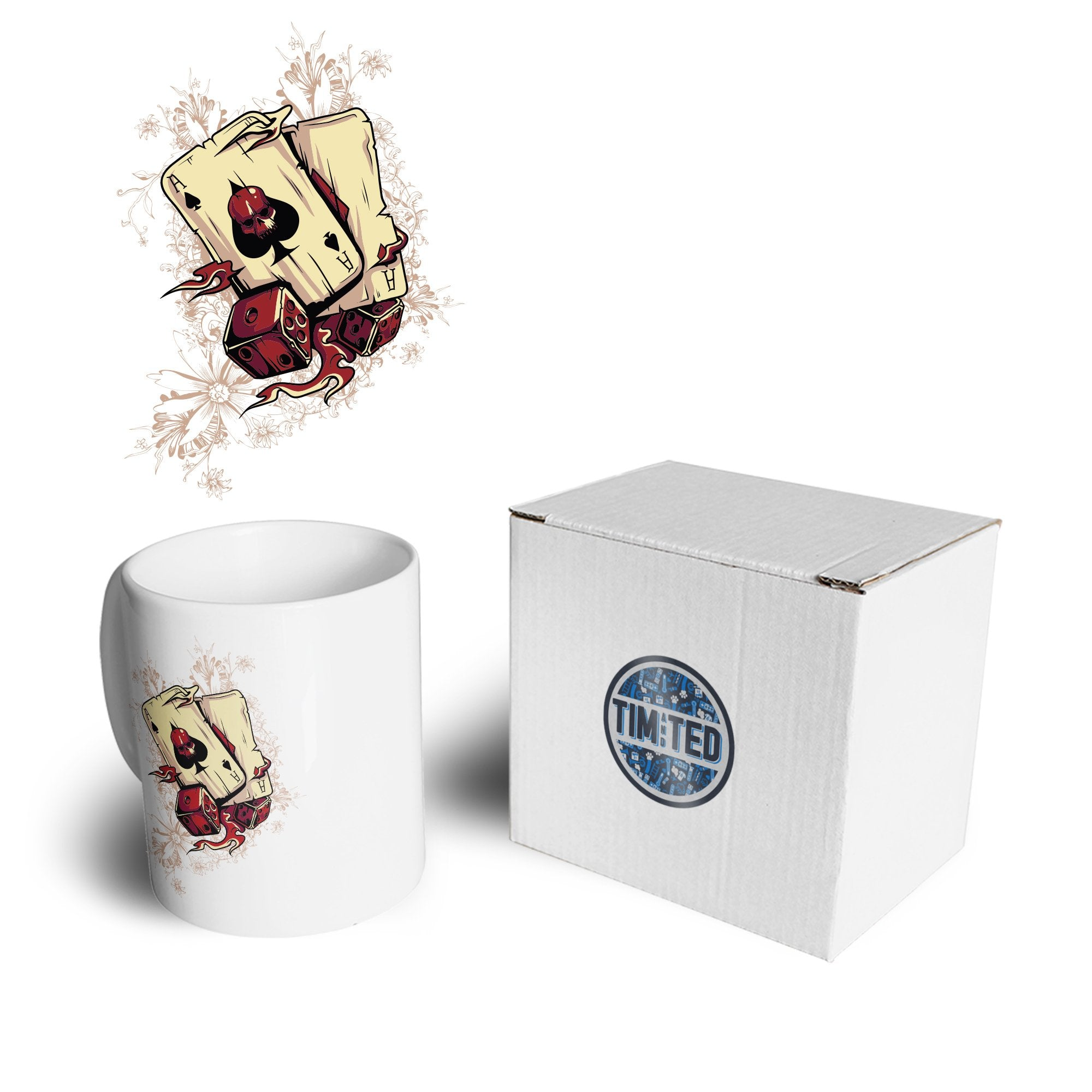 Gambling Art Mug Cards And Dice Graphic Coffee Tea Cup