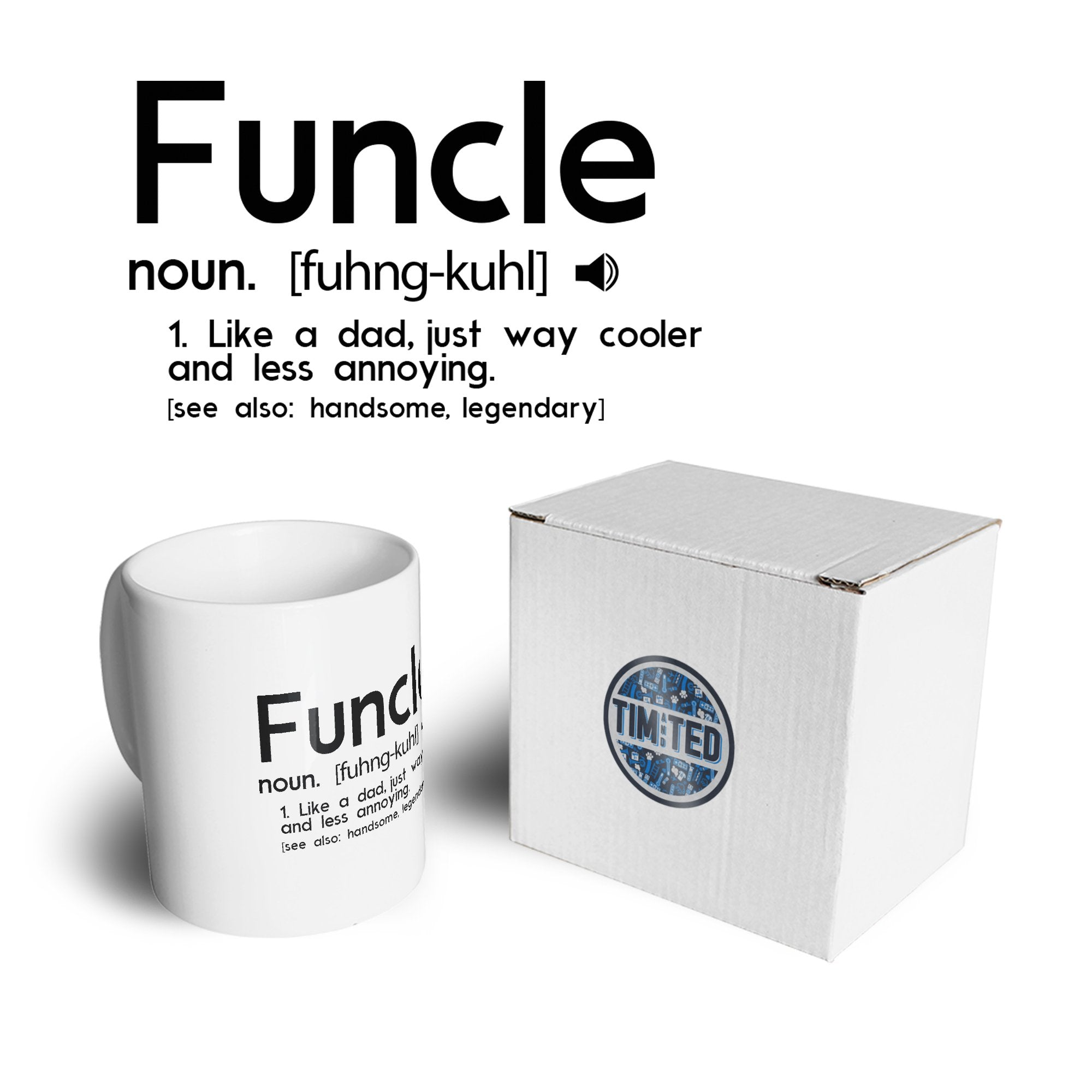 Novelty Mug Funcle Fun Uncle Pun Definition Joke Coffee Tea Cup
